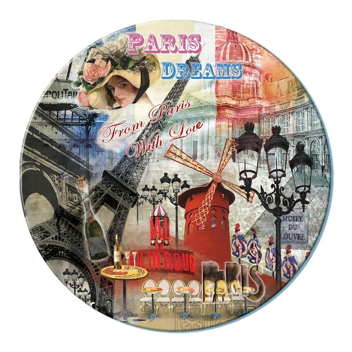 Доска разделочная GiftnHome Парижские фантазии, стеклянная, диаметр 19 смRCB-PDREAMSРазделочная доска GiftnHome Парижские фантазии выполнена из жароустойчивого стекла. Изделие, украшенное красочным изображением достопримечательностей Парижа, идеально впишется в интерьер современной кухни. Специальное покрытие вкладыша обеспечивает стойкость к влаге и высоким температурам. Изделие легко чистить от пятен и жира. Также доску можно применять как подставку под горячее. Разделочная доска GiftnHome Парижские фантазии украсит ваш стол и сбережет его от воздействия высоких температур ваших кулинарных шедевров. Можно мыть в посудомоечной машине. Диаметр доски: 19 см. Толщина доски: 0,4 см.
