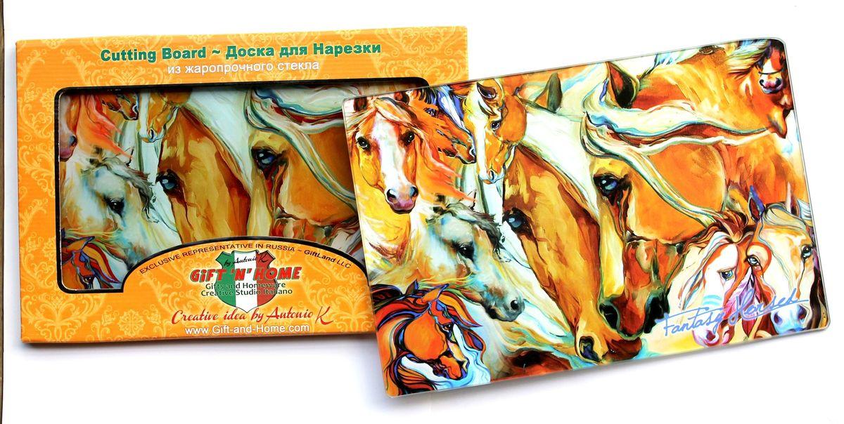 Доска разделочная GiftnHome Фантазии о лошадях, стеклянная, 30 см х 20 смCB-01-FhorseРазделочная доска GiftnHome Фантазии о лошадях выполнена из жароустойчивого стекла. Изделие, украшенное красочным изображением лошадей, идеально впишется в интерьер современной кухни. Специальное покрытие вкладыша обеспечивает стойкость к влаге и высоким температурам. Изделие легко чистить от пятен и жира. Также доску можно применять как подставку под горячее. Доска оснащена резиновыми ножками, предотвращающими скольжение по поверхности стола. Разделочная доска GiftnHome Фантазии о лошадях украсит ваш стол и сбережет его от воздействия высоких температур ваших кулинарных шедевров. Можно мыть в посудомоечной машине. Размер доски: 30 см х 20 см х 0,4 см.