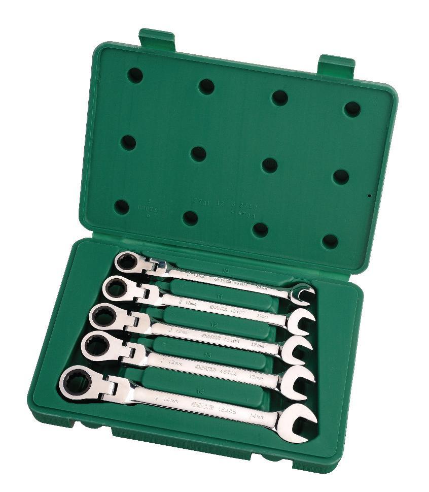 Набор ключей SATA 5пр. 0908209082Метрические комбинированные ключи Sata с реверсивным трещоточным карданным механизмом предназначены для монтажа/демонтажа резьбовых соединений. Инструменты выполнены из высококачественной хромованадиевой стали. В комплекте пластиковый кейс для переноски и хранения. В состав набора входят ключи размером: 10 мм, 11 мм, 12 мм, 13 мм, 14 мм.