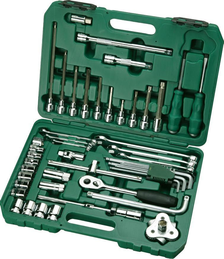 Набор инструментов SATA 50пр. 0950809508Набор инструментов Sata - это необходимый предмет в каждом доме и автомобиле. Набор прекрасно подойдет для проведения ремонтных автомобильных работ. Все инструменты выполнены из высококачественной стали. В комплекте пластиковый кейс для переноски и хранения. Состав набора: Головки торцевые 1/2 (12 граней): 8 мм, 10 мм, 12 мм, 17 мм, 18 мм, 19 мм, 20 мм, 21 мм, 22 мм, 24 мм, 27 мм. Биты Spline с хвостовиком под ключ 1/2: М8 х 100 мм, М10 х 120 мм, М12 х 140 мм. Биты HEX с хвостовиком под ключ 1/2: 17 мм x 50 мм, 6 мм x 70 мм, 8 мм x 120 мм, 6 мм x 250 мм, 5 мм x 180 мм, 6 мм x 140 мм, 10 мм x 140 мм, 7 мм x 100 мм. Ключи комбинированные: 8 мм, 10 мм, 13 мм, 17 мм, 19 мм, 22 мм. Ключ свечной 1/2: 16 мм. Ключ свечной 1/2: 21 мм. Ключи шестигранные удлиненные с шаром: 1,5 мм, 2 мм, 2,5 мм, 3 мм, 4 мм, 5 мм, 6 мм, 8 мм, 10 мм. Рукоятка реверсивная 1/2. Удлинители 1/2: 125 мм, 250 мм. Вороток 1/2: 250 мм. ...