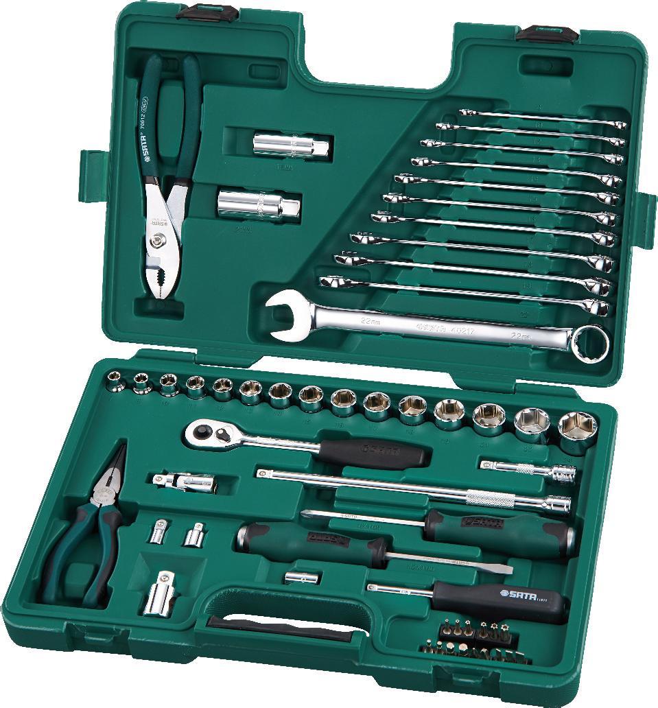 Набор инструментов SATA 56пр. 0950909509Набор инструментов Sata - это необходимый предмет в каждом доме. Предназначен для выполнения сервисных работ. Набор включает в себя 56 предметов, которые умещаются в пластиковом кейсе. Такой набор будет идеальным подарком мужчине. Состав набора: Головки торцевые шестигранные 3/8: 7 мм, 8 мм, 10 мм, 11 мм, 12 мм, 13 мм, 14 мм, 15 мм, 16 мм, 17 мм, 18 мм, 19 мм, 21 мм, 22 мм, 24 мм. Биты хвостовик 1/4 (длина 25мм): шлицевые: 4 мм, 5 мм, 6,5 мм; Phillips: PH1, PH3; HEX: 3 мм, 4 мм, 5 мм, 6 мм; TORX (закаленные): Т10, Т15, Т20, Т25, Т30, Т 40. Свечные головки 3/8: 16 мм, 21 мм. Ударные отвертки Т-серии: шлицевая 6 мм х 100 мм; Phillips: PH2 х 100 мм. Вороток-отвертка 1/4. Переходник 1/4. Переходник для бит 1/4 х 1/4. Ключ трещоточный 3/8. Удлинители 3/8: 75 мм, 250 мм. Шарнир карданный 3/8. Переходник 3/8. Универсальный переходник 3/8 х 1/2. Ключи комбинированные: 8 мм, 10 мм, 12 мм, 13 мм,...