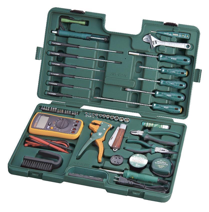 Набор инструментов SATA 53пр. для электротехнических работ 0953509535Набор инструментов Sata предназначен для проведения электротехнических работ. Все инструменты в наборе выполнены из высококачественной хромованадиевой стали. В комплекте пластиковый кейс для переноски и хранения. Состав набора: Головки торцевые шестигранные 1/4: 4 мм, 5 мм, 6 мм, 7 мм, 8 мм, 9 мм, 10 мм, 11 мм, 12 мм, 13 мм. Биты TORX: T10, T15, T20. Отвертки шлицевые: 5 мм x 75 мм, 6 мм х 100 мм. Отвертка индикаторная. Отвертки Phillips: PH1 x 75 мм, PH2 x 200 мм. Ключ разводной: 200 мм. Тонкогубцы: 150 мм. Бокорезы: 160 мм. Съемник изоляции универсальный. Паяльник: 30 Вт (220V). Биты HEX: 2 мм, 2,5 мм, 3 мм, 4 мм, 5 мм, 6 мм. Биты шлицевые: 5,5 мм, 6,5 мм. Отвертки часовые шлицевые: 2 мм х 75 мм, 3 мм х 100 мм, 4 мм х 150 мм. Отвертки часовые Phillips: PH1 x 75 мм, PH0 x 100 мм, PH1 x 150 мм. Отвертка держатель для битов. Адаптер для головок 1/4: 25 мм. Припой: 17 г. ...