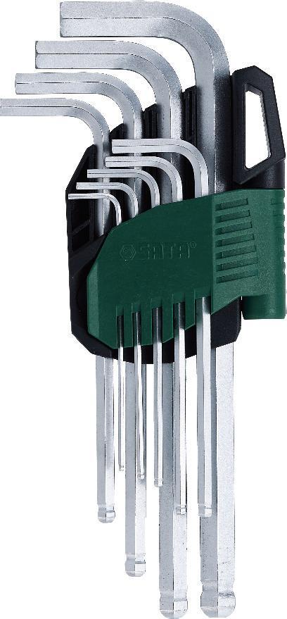 Набор шестигранников SATA 9пр. 09105A09105AНабор шестигранных метрических угловых ключей Sata с шаровым окончанием предназначен для работы с резьбовыми соединениями. Все шестигранники имеют правильную форму, размеры их точно совпадают со стандартными. Скошенные грани на концах позволяют быстро и без труда вставить ключ в отверстие. Изготавливаются из хромованадиевой стали для придания максимальной прочности и износоустойчивости. Усилие вращающего момента соответствует ANSI договору. Размеры: 1,5 мм, 2 мм, 2,5 мм, 3 мм, 4 мм, 5 мм, 6 мм, 8 мм, 10 мм.