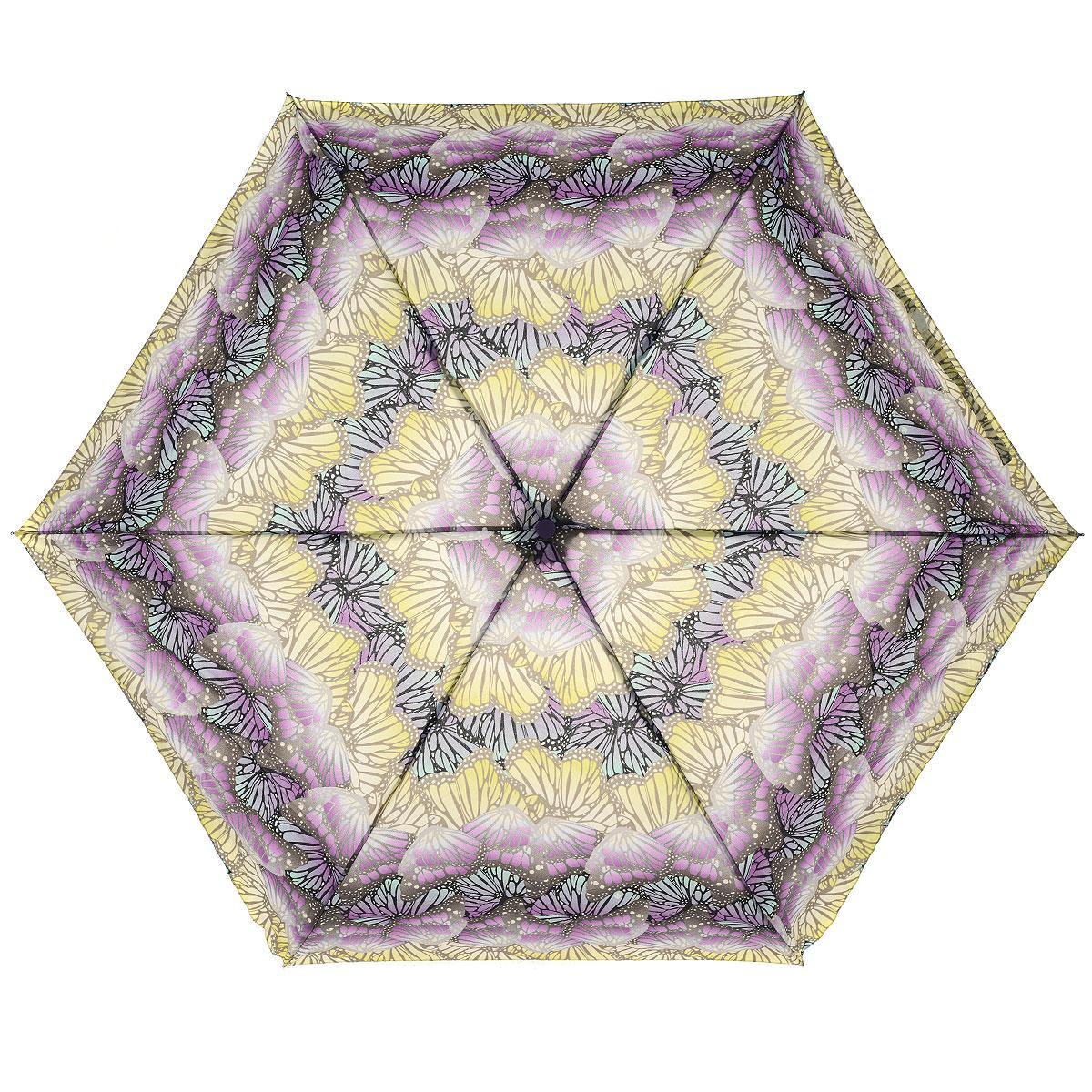 Зонт женский Fulton Butterfly Ombre, автомат, 3 сложения, цвет: фиолетовыйJ739 3S2236Стильный компактный зонт Fulton Butterfly Ombre даже в ненастную погоду позволит вам оставаться женственной и элегантной. Ветростойкий каркас зонта выполнен из алюминия и фибергласса и состоит из шести металлических спиц, зонт оснащен удобной рукояткой из прорезиненного пластика. Купол зонта выполнен из прочного полиэстера и оформлен изображением бабочек. На рукоятке для удобства есть небольшой шнурок-резинка, позволяющий надеть зонт на руку тогда, когда это будет необходимо. К зонту прилагается чехол на липучке. Зонт автоматического сложения: купол открывается и закрывается нажатием на кнопку, стержень складывается вручную до характерного щелчка.