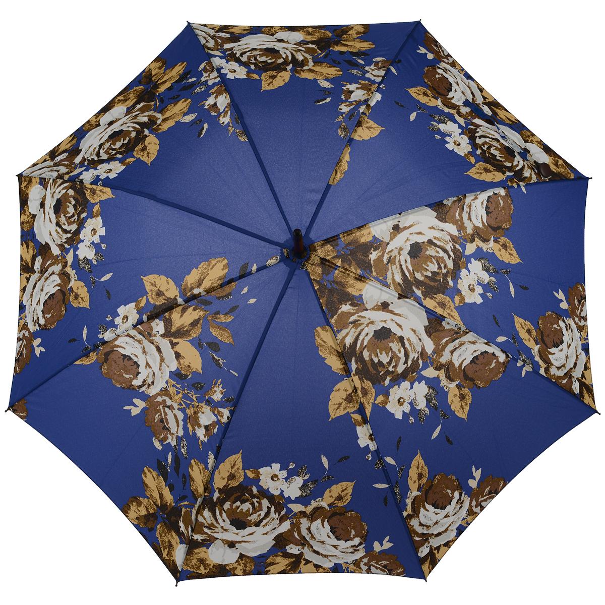 Зонт-трость женский Antique Rose Blue, механический, цвет: синийL056 3F2638Стильный механический зонт-трость Antique Rose Blue даже в ненастную погоду позволит вам оставаться элегантной. Облегченный каркас зонта выполнен из 8 спиц из фибергласса, стержень изготовлен из дерева. Купол зонта выполнен из прочного полиэстера и оформлен цветочным принтом. Рукоятка закругленной формы разработана с учетом требований эргономики и выполнена из дерева. Зонт имеет механический тип сложения: купол открывается и закрывается вручную до характерного щелчка. Такой зонт не только надежно защитит вас от дождя, но и станет стильным аксессуаром. Характеристики: Материал: полиэстер, фибергласс, дерево. Диаметр купола: 100 см. Цвет: синий. Длина стержня зонта: 76 см. Длина зонта (в сложенном виде): 88 см. Вес: 375 г. Артикул: L056 3F2638.