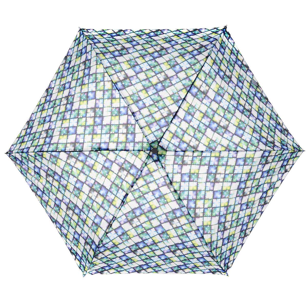 """Зонт женский Fulton Jewel, механический, 3 сложения, цвет: фиолетовый, зеленыйL553 3F2622Стильный компактный зонт Fulton """"Jewel"""" даже в ненастную погоду позволит вам оставаться женственной и элегантной. """"Ветростойкий"""" алюминиевый каркас в 3 сложения состоит из шести спиц с элементами из фибергласса, зонт оснащен удобной рукояткой из прорезиненного пластика. Купол зонта выполнен из прочного полиэстера и оформлен принтом в виде разноцветной мозаики. На рукоятке для удобства есть небольшой шнурок-резинка, позволяющий надеть зонт на руку тогда, когда это будет необходимо. К зонту прилагается чехол на липучке. Зонт механического сложения: купол открывается и закрывается вручную, стержень также складывается вручную до характерного щелчка. Характеристики: Материал: алюминий, фибергласc, пластик, полиэстер. Цвет: фиолетовый, зеленый. Диаметр купола: 86 см. Длина зонта в сложенном виде: 22 см. Длина ручки (стержня) в раскрытом виде: 51 см. Вес: 138 г. Диаметр зонта (в сложенном виде): 3 см. ..."""