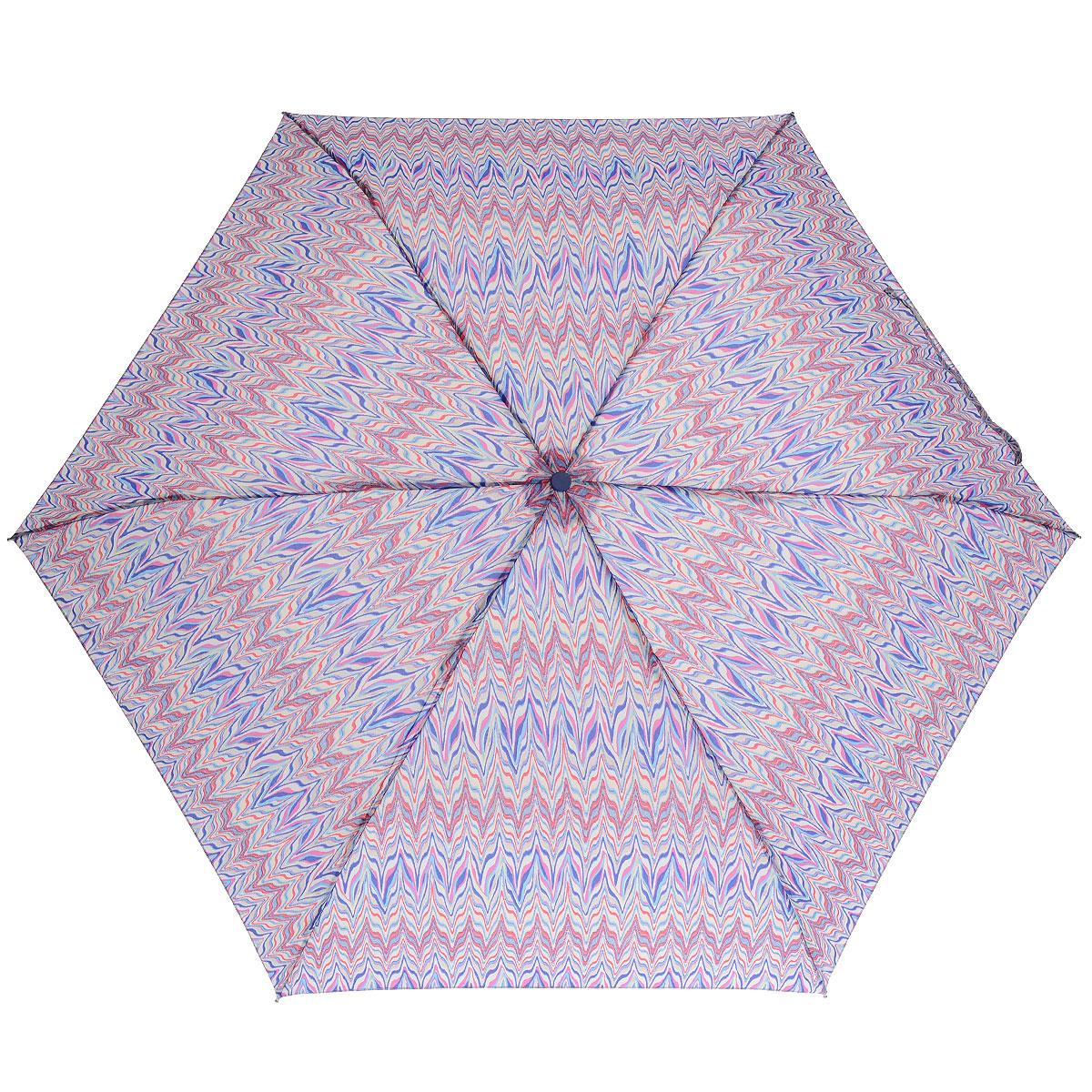 """Зонт женский Fulton Marble, механический, 3 сложения, цвет: синий, розовыйL553 3F264Стильный зонт Fulton """"Marble"""" защитит от непогоды, а его компактный размер позволит вам всегда носить его с собой. """"Ветростойкий"""" алюминиевый каркас в 3 сложения состоит из шести спиц с элементами из фибергласса, зонт оснащен удобной рукояткой из пластика. Купол зонта выполнен из прочного полиэстера и оформлен ярким орнаментом. На рукоятке для удобства есть небольшой шнурок-резинка, позволяющий надеть зонт на руку тогда, когда это будет необходимо. К зонту прилагается чехол на липучке. Зонт механического сложения: купол открывается и закрывается вручную, стержень также складывается вручную до характерного щелчка."""