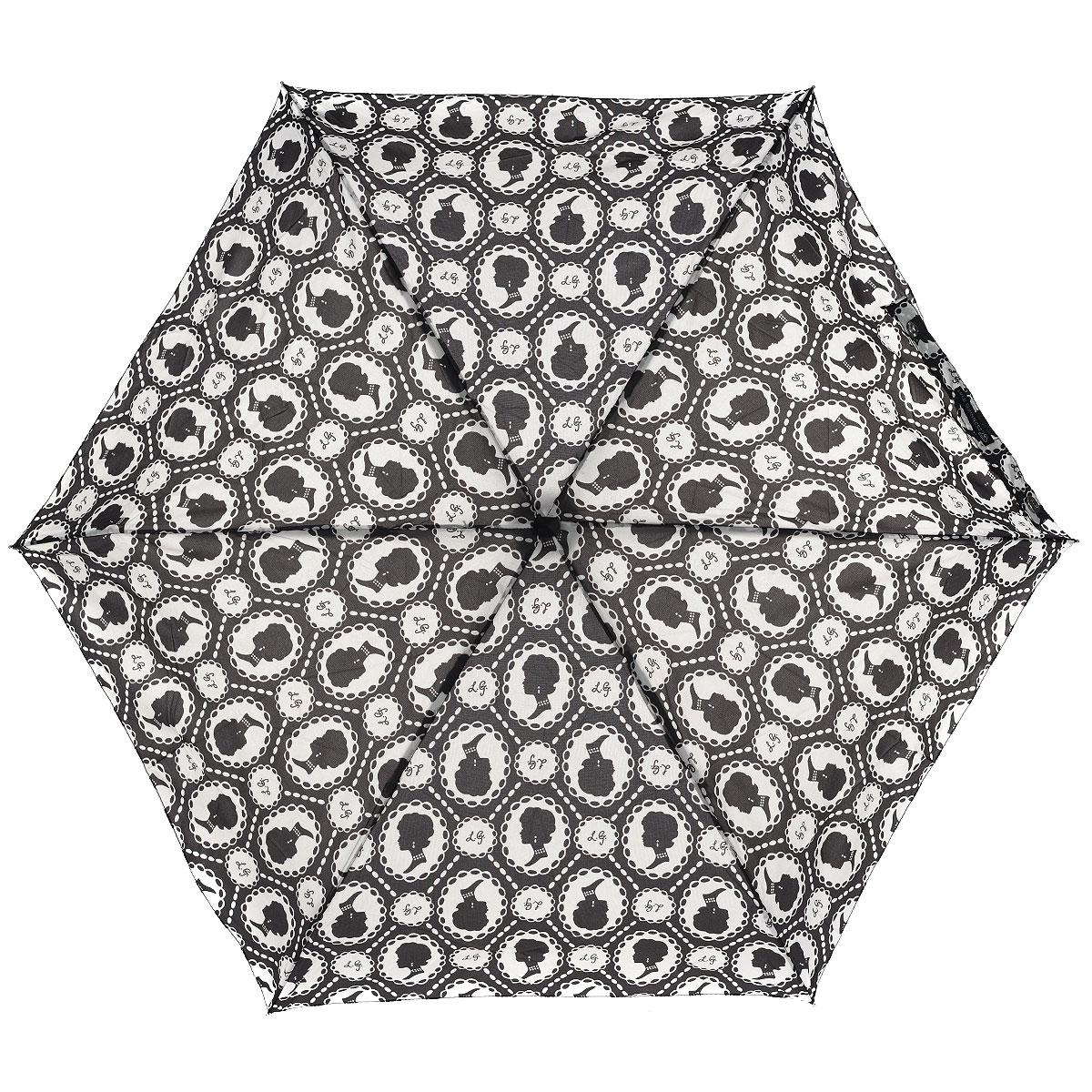 """Зонт женский Lulu Guinness Cameo, механический, 5 сложений, цвет: черный, белыйL717 2F2405Стильный зонт """"Cameo"""" защитит от непогоды, а его сверхкомпактный размер позволит вам всегда носить его с собой. """"Ветростойкий"""" плоский каркас зонта выполнен из алюминия и состоит из шести спиц с элементами из фибергласса, зонт оснащен удобной рукояткой из пластика. Купол зонта выполнен из прочного полиэстера и оформлен принтом в виде камей. На рукоятке для удобства есть небольшой шнурок, позволяющий надеть зонт на руку тогда, когда это будет необходимо. К зонту прилагается чехол. Зонт механического сложения: купол открывается и закрывается вручную, стержень также складывается вручную до характерного щелчка. Характеристики: Материал: алюминий, фибергласс, пластик, полиэстер. Цвет: черный, белый. Диаметр купола: 87 см. Длина зонта в сложенном виде: 15 см. Длина ручки (стержня) в раскрытом виде: 50 см. Вес: 158 г. Артикул: L717 2F2405."""