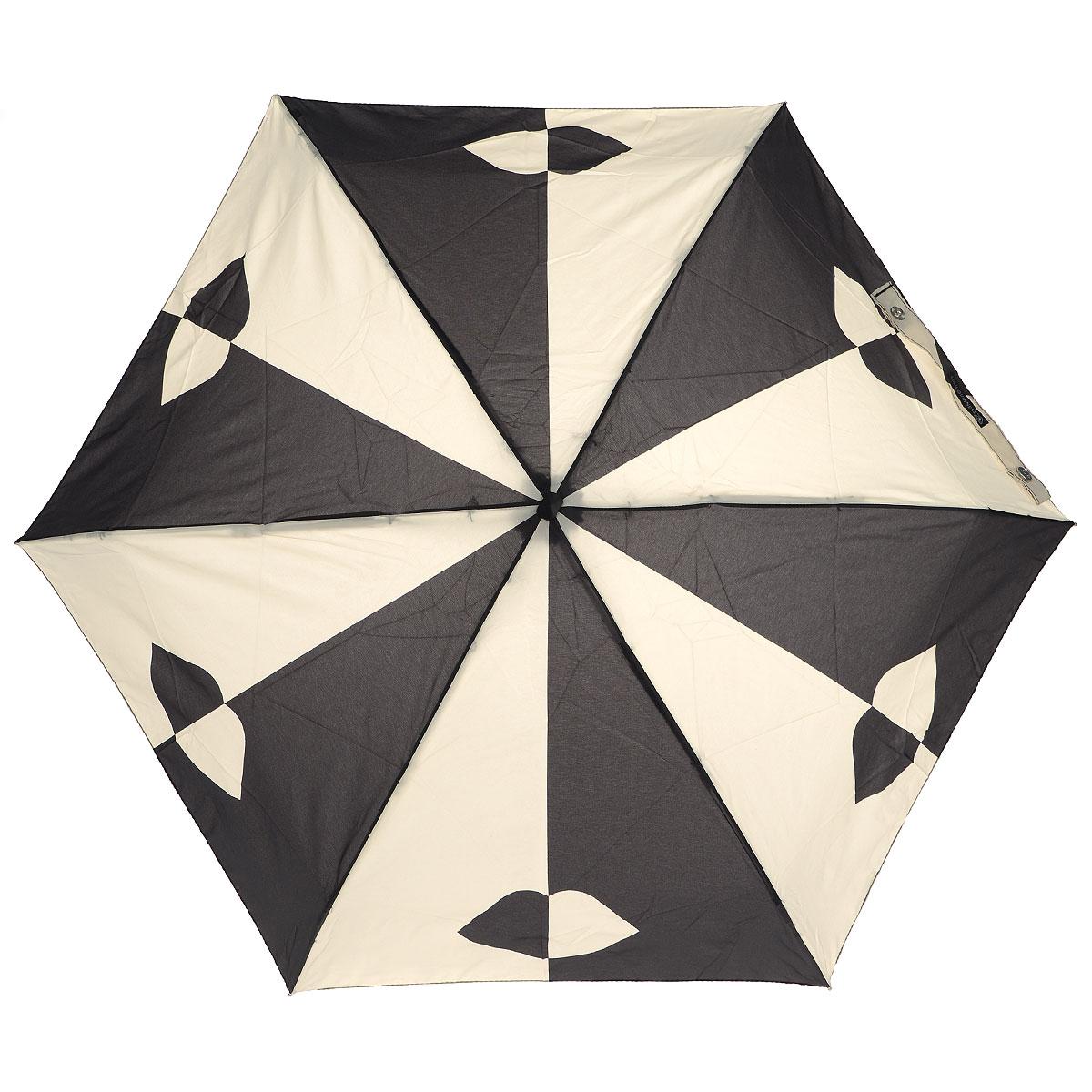"""Зонт женский Lulu Guinness Stone Black Lips, механический, 5 сложений, цвет: черный, бежевыйL717 3F2679Стильный зонт """"Stone Black Lips"""" защитит от непогоды, а его сверхкомпактный размер позволит вам всегда носить его с собой. """"Ветростойкий"""" каркас зонта выполнен из алюминия и состоит из шести спиц с элементами из фибергласса, зонт оснащен удобной рукояткой из прорезиненного пластика. Купол зонта выполнен из прочного полиэстера и оформлен принтом в виде губ. На рукоятке для удобства есть небольшой шнурок, позволяющий надеть зонт на руку тогда, когда это будет необходимо. К зонту прилагается чехол. Зонт механического сложения: купол открывается и закрывается вручную, стержень также складывается вручную до характерного щелчка."""