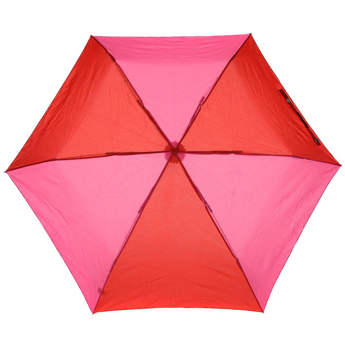 """Зонт женский Lulu Guinness Dice Handle, механический, 3 сложения, цвет: розовый, красныйL 718 3S2548Стильный зонт """"Dice Handle"""" защитит от непогоды, а его компактный размер позволит вам всегда носить его с собой. """"Ветростойкий"""" каркас зонта выполнен из алюминия и состоит из шести спиц с элементами из фибергласса, зонт оснащен удобной рукояткой из пластика, изготовленной в виде игральной кости. Купол зонта выполнен из прочного полиэстера красно-розового цвета. На рукоятке для удобства есть небольшой шнурок-резинка, позволяющий надеть зонт на руку тогда, когда это будет необходимо. К зонту прилагается чехол на липучке. Зонт механического сложения: купол открывается и закрывается вручную, стержень также складывается вручную до характерного щелчка. Характеристики: Материал: алюминий, фибергласс, пластик, полиэстер. Цвет: розовый, красный. Длина ручки (стержня) в раскрытом виде: 52 см. Вес: 138 г. Диаметр зонта (в сложенном виде): 3 см. Артикул: L 718 3S2548."""