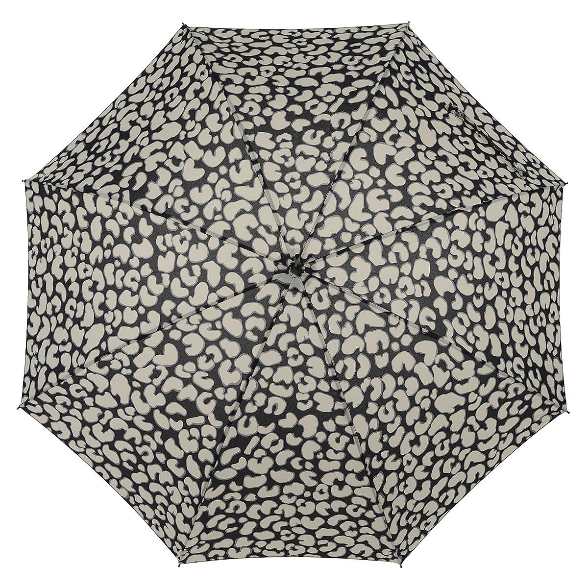 Зонт-трость женский Eliza-2, механический, цвет: черный, бежевый. L 720 3F2680L 720 3F2680Стильный механический зонт-трость Eliza-2 даже в ненастную погоду позволит вам оставаться элегантной. Утонченный каркас зонта выполнен из 8 спиц из фибергласса, стержень изготовлен из алюминия. Купол зонта выполнен из прочного полиэстера и оформлен леопардовым принтом. Рукоятка закругленной формы разработана с учетом требований эргономики и выполнена из пластика. Зонт имеет механический тип сложения: купол открывается и закрывается вручную до характерного щелчка. Такой зонт не только надежно защитит вас от дождя, но и станет стильным аксессуаром. Характеристики: Материал: полиэстер, фибергласс, алюминий, пластик. Цвет: черный, бежевый. Длина стержня зонта: 76 см. Вес: 270 г. Артикул: L 720 3F2680.