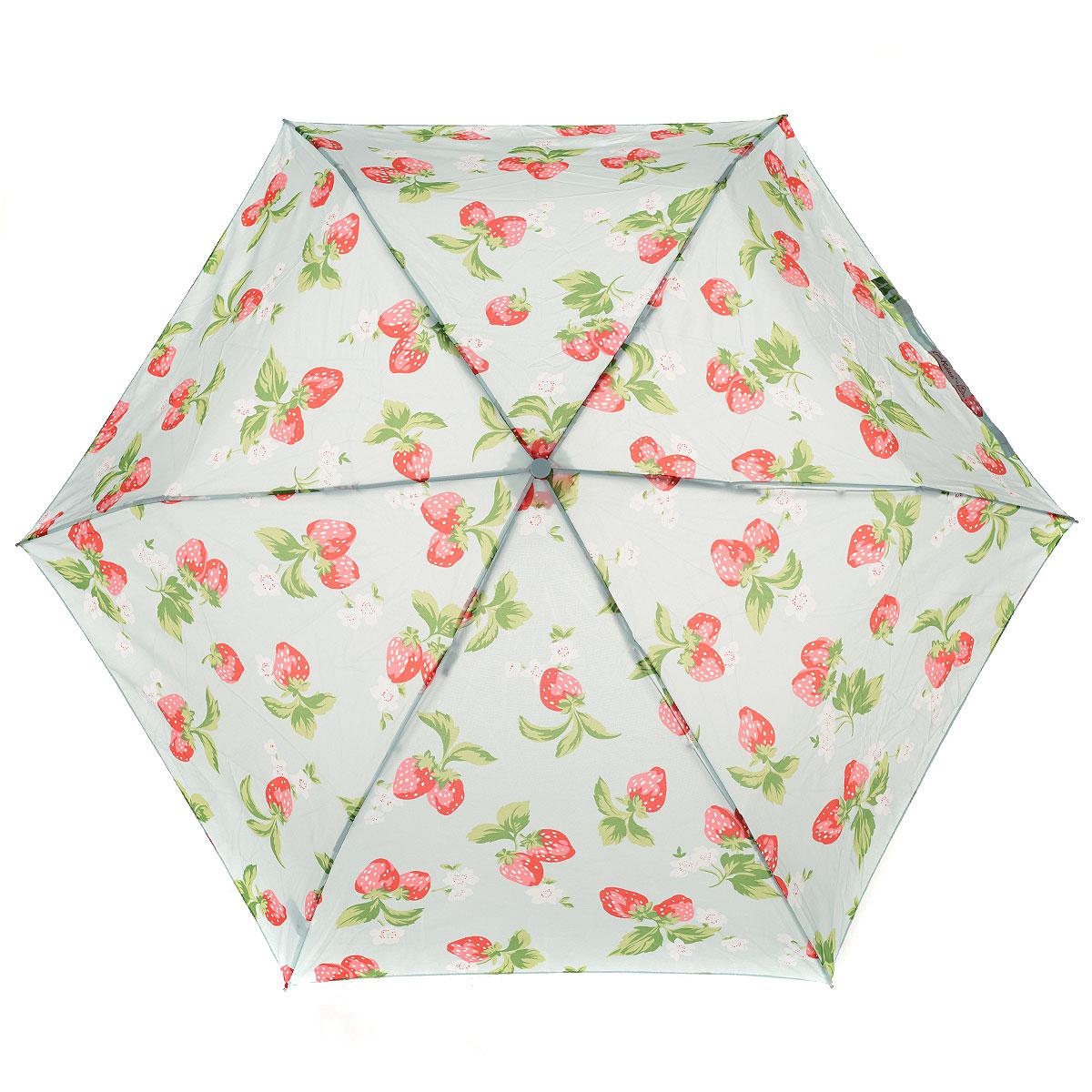 """Зонт женский Fulton Strawberry, механический, 3 сложения, цвет: голубой. L535 3S2540L535 3S2540Стильный компактный зонт Fulton """"Strawberry"""" даже в ненастную погоду позволит вам оставаться женственной и элегантной. """"Ветростойкий"""" каркас зонта выполнен из алюминияи состоит из шести спиц с элементами из фибергласса, зонт оснащен удобной рукояткой из прорезиненного пластика. Купол зонта выполнен из прочного полиэстера и оформлен изображением ягод клубники. На рукоятке для удобства есть небольшой шнурок-резинка, позволяющий надеть зонт на руку тогда, когда это будет необходимо. К зонту прилагается чехол на липучке. Зонт механического сложения: купол открывается и закрывается вручную до характерного щелчка."""