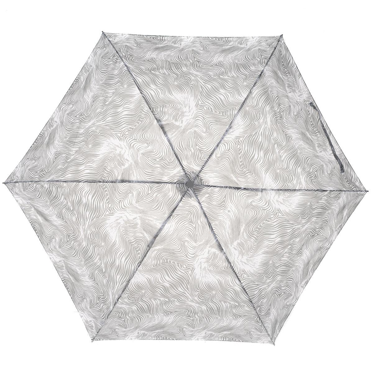 """Зонт женский Fulton Flow, механический, 3 сложения, цвет: серыйL553 4S2754Стильный зонт Fulton """"Flow"""" защитит от непогоды, а его компактный размер позволит вам всегда носить его с собой. """"Ветростойкий"""" алюминиевый каркас в 3 сложения состоит из шести спиц с элементами из фибергласса, зонт оснащен удобной рукояткой из пластика, изготовленной в форме шара. Купол зонта выполнен из прочного полиэстера и оформлен принтом в виде волн. На рукоятке для удобства есть небольшой шнурок-резинка, позволяющий надеть зонт на руку тогда, когда это будет необходимо. К зонту прилагается чехол на липучке. Зонт механического сложения: купол открывается и закрывается вручную, стержень также складывается вручную до характерного щелчка. Компактный зонт диаметром 3 см в закрытом виде. Ветроустойчивый алюминиевый каркас в 3 сложения, 6 спиц с элементами из фибергласса, материал купола - полиэстер, диаметр купола - 86см. Длина зонта в сложенном виде - 22 см. Вес 138 гр."""