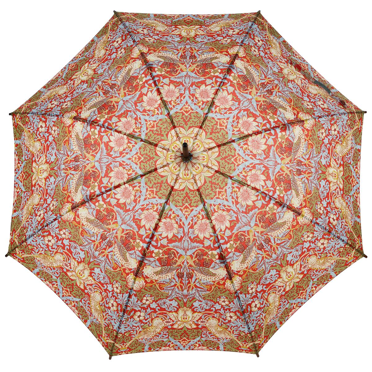 Зонт-трость женский Strawberry Thief, механический, цвет: голубой, красныйL715 3S2593Стильный механический зонт-трость Strawberry Thief даже в ненастную погоду позволит вам оставаться элегантной. Облегченный каркас зонта выполнен из 8 спиц из стали, стержень изготовлен из дерева. Купол зонта выполнен из прочного полиэстера и оформлен красочным принтом с изображением птиц. Рукоятка закругленной формы разработана с учетом требований эргономики и выполнена из дерева. Зонт имеет механический тип сложения: купол открывается и закрывается вручную до характерного щелчка. Такой зонт не только надежно защитит вас от дождя, но и станет стильным аксессуаром.