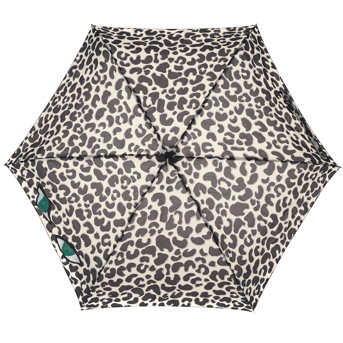 """Зонт женский Lulu Guinness Leopard Eye, механический, 5 сложений, цвет: бежевый, черныйL717 3F2682Стильный зонт """"Leopard Eye"""" защитит от непогоды, а его сверхкомпактный размер позволит вам всегда носить его с собой. """"Ветростойкий"""" каркас зонта выполнен из алюминия и состоит из шести спиц с элементами из фибергласса, зонт оснащен удобной рукояткой из пластика. Купол зонта выполнен из прочного полиэстера и оформлен леопардовым принтом. На рукоятке для удобства есть небольшой шнурок, позволяющий надеть зонт на руку тогда, когда это будет необходимо. К зонту прилагается чехол. Зонт механического сложения: купол открывается и закрывается вручную, стержень также складывается вручную до характерного щелчка."""