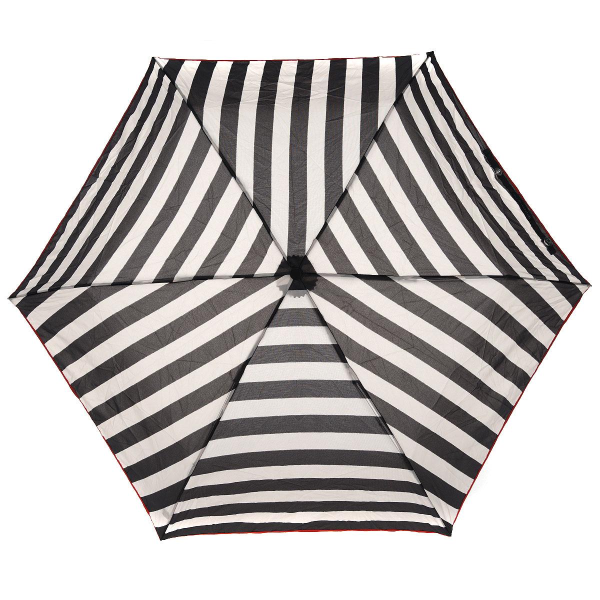 """Зонт женский Fulton Stripe, механический, 3 сложения, цвет: черный, бежевыйL718 2S2343Стильный компактный зонт Fulton """"Stripe"""" даже в ненастную погоду позволит вам оставаться женственной и элегантной. """"Ветростойкий"""" каркас зонта выполнен из алюминия и состоит из шести спиц с элементами из фибергласса, зонт оснащен удобной рукояткой из пластика. Купол зонта выполнен из прочного полиэстера и оформлен полосатым принтом. На рукоятке для удобства есть небольшой шнурок-резинка, позволяющий надеть зонт на руку тогда, когда это будет необходимо. К зонту прилагается чехол на липучке. Зонт механического сложения: купол открывается и закрывается вручную, стержень также складывается вручную до характерного щелчка. Компактный зонт диаметром 3 см в закрытом виде. Ветроустойчивый алюминиевый каркас в 3 сложения, 6 спиц с элементами из фибергласса, материал купола - полиэстер, диаметр купола - 86см. Длина зонта в сложенном виде - 22 см. Вес 138 гр."""