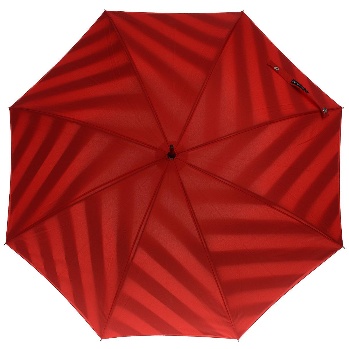Зонт-трость женский Diagonal Stripe, полуавтомат, цвет: красныйL723 3S2550Стильный полуавтоматический зонт-трость Diagonal Stripe даже в ненастную погоду позволит вам оставаться элегантной. Каркас зонта выполнен из 8 спиц, стержень изготовлен из стали. Купол зонта выполнен из прочного полиэстера красного цвета с внешней стороны и оформлен полосатым принтом - на внутренней. Рукоятка закругленной формы разработана с учетом требований эргономики и выполнена из пластика. Зонт имеет полуавтоматический механизм сложения: купол открывается нажатием кнопки на рукоятке, а закрывается вручную до характерного щелчка. Такой зонт не только надежно защитит вас от дождя, но и станет стильным аксессуаром.
