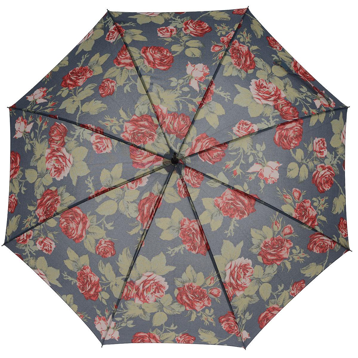 Зонт-трость женский Antique Rose Blue, полуавтомат, цвет: синий, красныйL755 2F2380Стильный полуавтоматический зонт-трость Antique Rose Blue даже в ненастную погоду позволит вам оставаться элегантной. Каркас зонта выполнен из 8 спиц, стержень изготовлен из стали. Купол зонта выполнен из прочного полиэстера синего цвета и оформлен принтом в виде красных роз. Рукоятка закругленной формы разработана с учетом требований эргономики и обтянута искусственной кожей. Зонт имеет полуавтоматический механизм сложения: купол открывается нажатием кнопки на рукоятке, а закрывается вручную до характерного щелчка. Такой зонт не только надежно защитит вас от дождя, но и станет стильным аксессуаром.