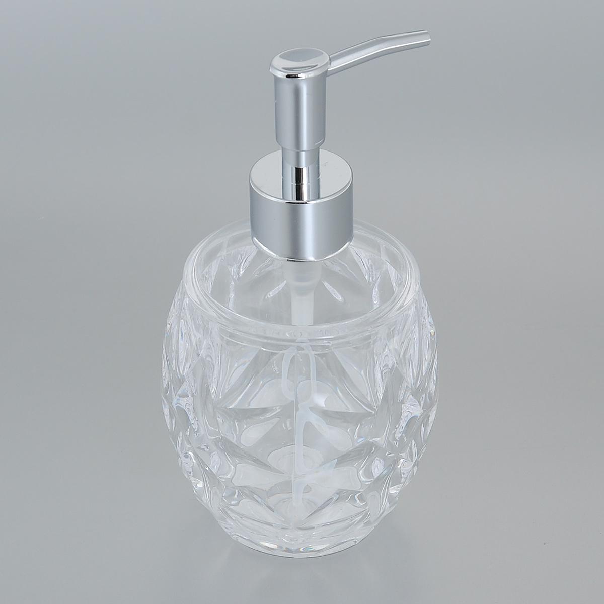 Диспенсер для жидкого мыла Fresh Code Узорный, цвет: прозрачный, 360 мл64537Диспенсер для жидкого мыла Fresh Code Узорный изготовлен из акрила в эффектной резной форме. Стенки прозрачные, что очень удобно для определения оставшегося мыла. Носик изделия выполнен из прочного ABS-пластика с хромированным покрытием. Диспенсер очень удобен в использовании: просто надавите сверху, и из диспенсера выльется необходимое количество мыла. Аксессуары для ванной комнаты Fresh Code стильно украсят интерьер и добавят в обычную обстановку яркие и модные акценты. Нейтральный цвет подойдет к любому интерьеру. Размер диспенсера (ДхШхВ): 9 см х 9 см х 17 см. Объем: 360 мл.