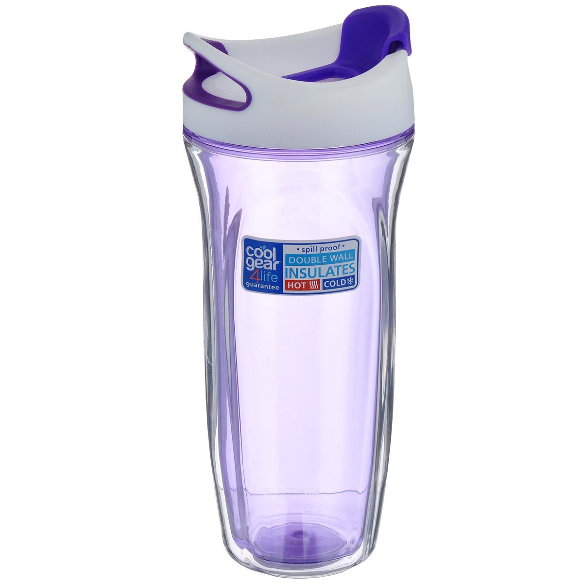 Кружка дорожная Cool Gear Vortex, для горячих напитков, цвет: фиолетовый, 660 мл. 16501650Дорожная кружка Cool Gear Vortex изготовлена из высококачественного BPA-free пластика, не содержащего токсичных веществ. Двойные стенки дольше сохраняют напиток горячим и не обжигают руки. Надежная закручивающаяся крышка с защитой от проливания обеспечит дополнительную безопасность. Крышка оснащена клапаном для питья. Оптимальный объем позволит взять с собой большую порцию горячего кофе или чая. Идеально подходит для холодных напитков. Оригинальный дизайн, яркие, жизнерадостные цвета и эргономичная форма превращают кружку в стильный и функциональный аксессуар. Кружка идеальна для ежедневного использования. Она станет вашим неотъемлемым спутником в длительных поездках или занятиях зимними видами спорта. Не рекомендуется использовать в микроволновой печи и мыть в посудомоечной машине. Диаметр кружки (по верхнему краю): 8,5 см. Высота кружки (с учетом крышки): 23 см.