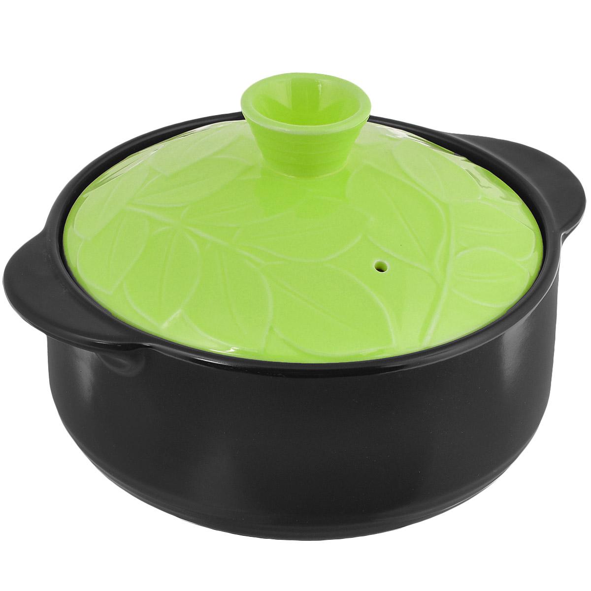 Кастрюля керамическая Hans & Gretchen с крышкой, цвет: зеленый, 1,1 л12NF-G16Кастрюля Hans & Gretchen изготовлена из экологически чистой жаропрочной керамики. Керамическая крышка кастрюли оснащена отверстием для выпуска пара. Кастрюля равномерно нагревает блюдо, долго сохраняя тепло и не выделяя абсолютно никаких примесей в пищу. Кастрюля не искажает, а даже усиливает вкус пищи. Крышка изделия оформлена рельефным изображением листьев. Превосходно служит для замораживания продуктов в холодильнике (до -20°С). Кастрюля устойчива к химическим и механическим воздействиям. Благодаря толстым стенкам изделие нагревается равномерно. Кастрюля Hans & Gretchen прекрасно подойдет для запекания и тушения овощей, мяса и других блюд, а оригинальный дизайн и яркое оформление украсят ваш стол. Можно мыть в посудомоечной машине. Кастрюля предназначена для использования на газовой и электрической плитах, в духовке и микроволновой печи. Не подходит для индукционных плит. Высота стенки: 7,5 см. Ширина кастрюли (с учетом ручек): 21 см. ...