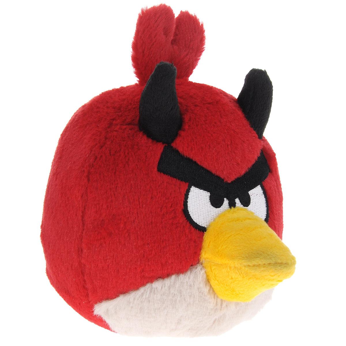 Angry Birds Мягкая озвученная игрушка Halloween цвет красный 14 см91786красныйМягкая озвученная игрушка Angry Birds Halloween подарит вашему ребенку много радости и веселья. Удивительно приятная на ощупь игрушка выполнена в виде всем известного персонажа из популярной игры Angry Birds - красной птицы. На голове у нее расположены рожки. При нажатии на кнопку, расположенную на макушке, игрушка начинает смеяться и издавать забавные звуки. Чудесная мягкая игрушка непременно поднимет настроение своему обладателю и станет замечательным подарком к любому празднику.