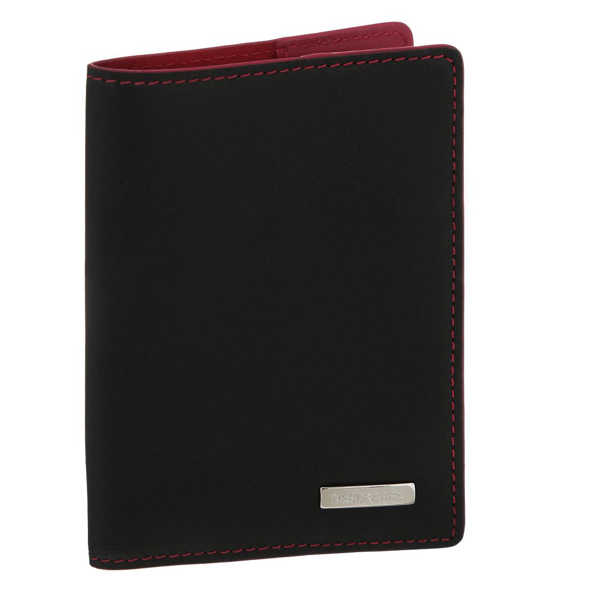 Обложка для паспорта Neri Karra, цвет: черный, красный. 0140 501.01/05R0140 501.01/05RОбложка для паспорта Neri Karra выполнена из натуральной высококачественной кожи черного цвета с естественной лицевой и ворсовой поверхностью. Внутренняя сторона обложки оформлена красным цветом. Документы надежно фиксируются при помощи двух клапанов, расположенных на внутреннем развороте обложки. Такая обложка не только сохранит внешний вид документов и защитит их от грязи и пыли, но и станет стильным аксессуаром, который идеально дополнит ваш образ. Обложка упакована в подарочную коробку черного цвета с логотипом фирмы Neri Karra.