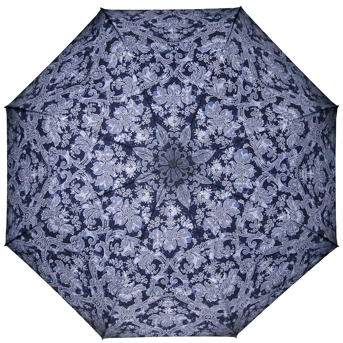 Зонт женский Zest, автомат, 3 сложения, цвет: темно-синий, светло-серый. 23846-128023846-1280Элегантный автоматический зонт Zest в 3 сложения изготовлен из высокопрочных материалов. Каркас зонта состоит из 8 спиц и прочного алюминиевого стержня. Специальная система Windproof защищает его от поломок во время сильных порывов ветра. Купол зонта выполнен из прочного полиэстера с водоотталкивающей пропиткой и оформлен орнаментом. Используемые высококачественные красители обеспечивают длительное сохранение свойств ткани купола. Рукоятка, разработанная с учетом требований эргономики, выполнена из пластика. Зонт имеет полный автоматический механизм сложения: купол открывается и закрывается нажатием кнопки на рукоятке, стержень складывается вручную до характерного щелчка. Благодаря этому открыть и закрыть зонт можно одной рукой, что чрезвычайно удобно при входе в транспорт или помещение. Небольшой шнурок, расположенный на рукоятке, позволяет надеть изделие на руку при необходимости. Модель закрывается при помощи хлястика на застежку-липучку. К зонту прилагается чехол. ...