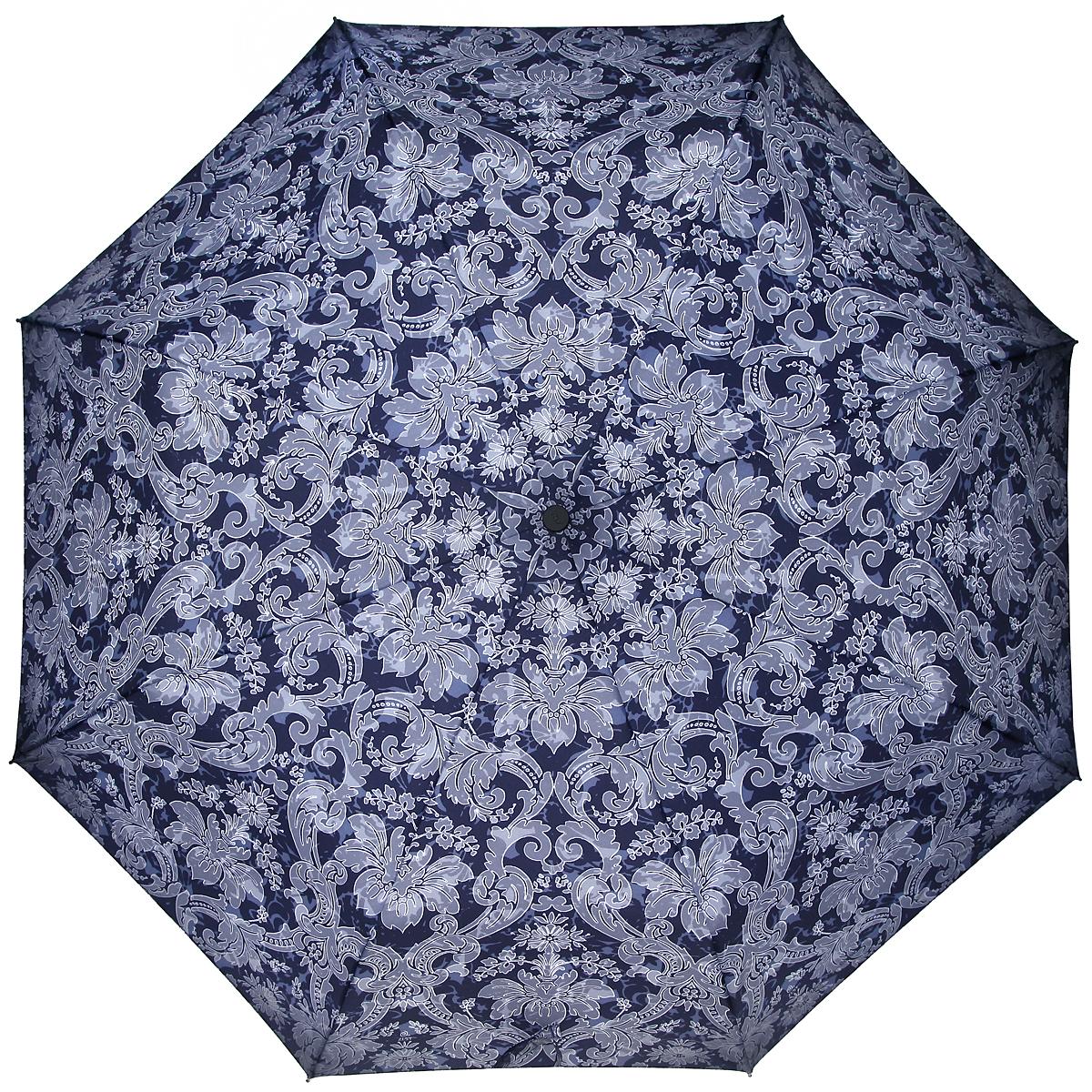 Зонт женский Zest, автомат, 3 сложения, цвет: темно-синий, светло-серый. 23926-128023926-1280Элегантный автоматический зонт Zest в 3 сложения изготовлен из высокопрочных материалов. Каркас зонта состоит из 8 спиц и прочного алюминиевого стержня. Специальная система Windproof защищает его от поломок во время сильных порывов ветра. Купол зонта выполнен из прочного полиэстера с водоотталкивающей пропиткой и оформлен орнаментом. Используемые высококачественные красители обеспечивают длительное сохранение свойств ткани купола. Рукоятка, разработанная с учетом требований эргономики, выполнена из пластика. Зонт имеет полный автоматический механизм сложения: купол открывается и закрывается нажатием кнопки на рукоятке, стержень складывается вручную до характерного щелчка. Благодаря этому открыть и закрыть зонт можно одной рукой, что чрезвычайно удобно при входе в транспорт или помещение. Небольшой шнурок, расположенный на рукоятке, позволяет надеть изделие на руку при необходимости. Модель закрывается при помощи хлястика на застежку-липучку. К зонту прилагается чехол. ...