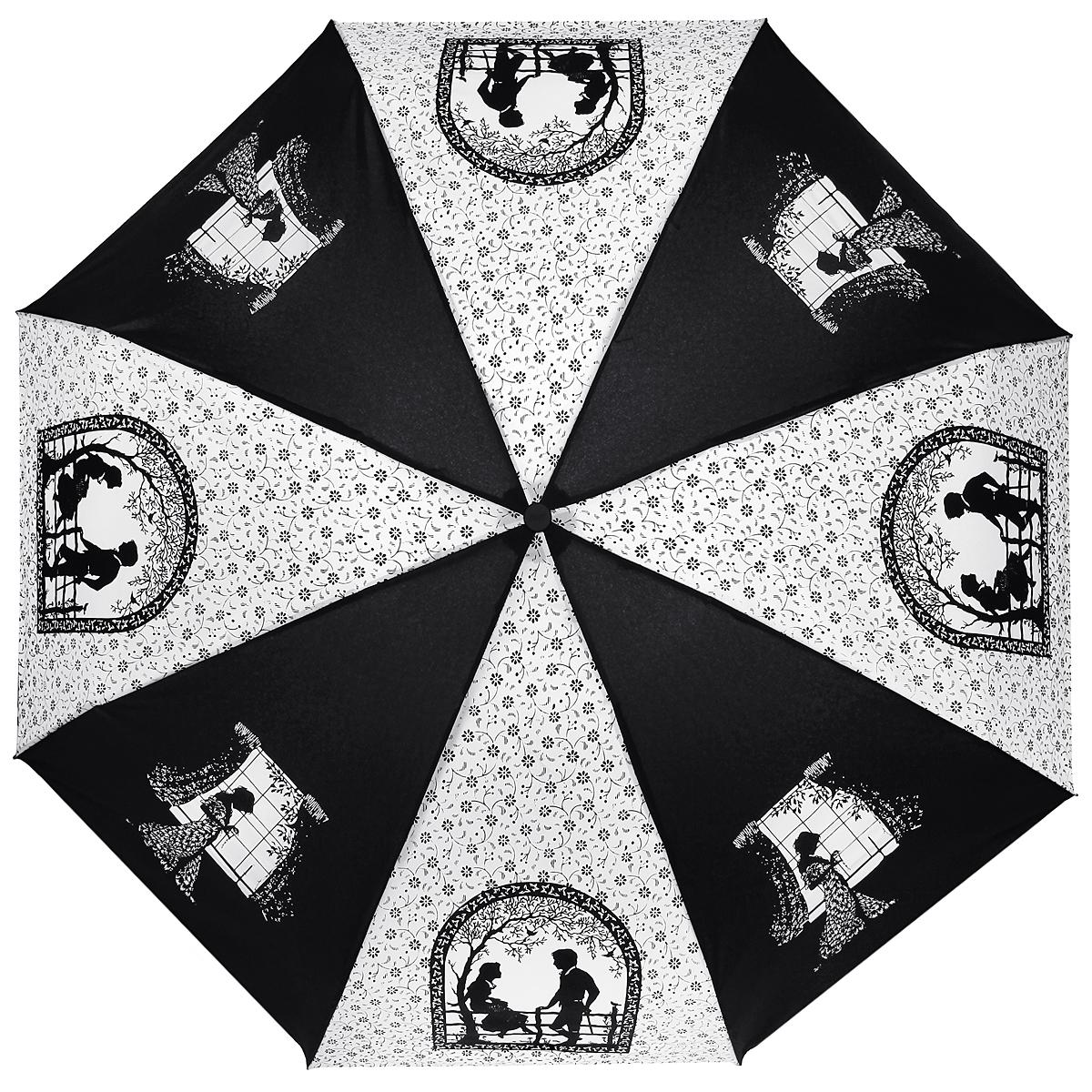 Зонт женский Zest, автомат, 4 сложения, цвет: черный, белый. 24759-40824759-408Элегантный автоматический зонт Zest в 4 сложения изготовлен из высокопрочных материалов. Каркас зонта состоит из 8 спиц и прочного алюминиевого стержня. Специальная система Windproof защищает его от поломок во время сильных порывов ветра. Купол зонта выполнен из прочного полиэстера с водоотталкивающей пропиткой и оформлен узором в мелкий цветочек, а также изображением силуэтов молодых людей на свидании, девушки перед окном. Используемые высококачественные красители обеспечивают длительное сохранение свойств ткани купола. Рукоятка, разработанная с учетом требований эргономики, выполнена из пластика. Зонт имеет полный автоматический механизм сложения: купол открывается и закрывается нажатием кнопки на рукоятке, стержень складывается вручную до характерного щелчка. Благодаря этому открыть и закрыть зонт можно одной рукой, что чрезвычайно удобно при входе в транспорт или помещение. Небольшой шнурок, расположенный на рукоятке, позволяет надеть изделие на руку при...