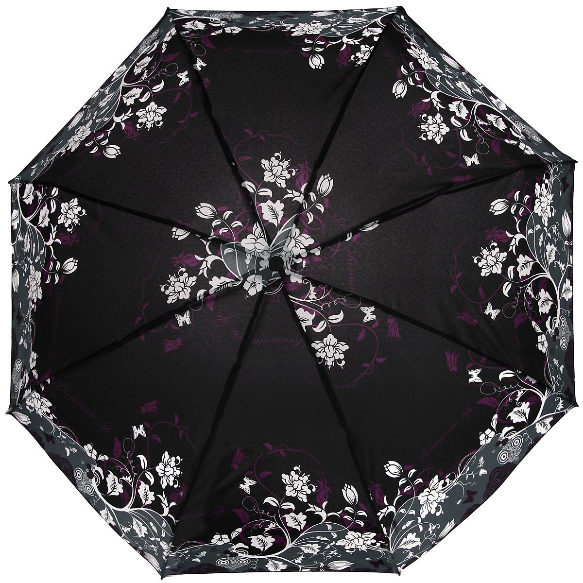 Зонт женский Zest, автомат, 4 сложения, цвет: черный, серый, белый, фиолетовый. 24759-802524759-8025Элегантный автоматический зонт Zest в 4 сложения изготовлен из высокопрочных материалов. Каркас зонта состоит из 8 спиц и прочного алюминиевого стержня. Специальная система Windproof защищает его от поломок во время сильных порывов ветра. Купол зонта выполнен из прочного полиэстера с водоотталкивающей пропиткой и оформлен стильным цветочным узором. Используемые высококачественные красители обеспечивают длительное сохранение свойств ткани купола. Рукоятка, разработанная с учетом требований эргономики, выполнена из пластика. Зонт имеет полный автоматический механизм сложения: купол открывается и закрывается нажатием кнопки на рукоятке, стержень складывается вручную до характерного щелчка. Благодаря этому открыть и закрыть зонт можно одной рукой, что чрезвычайно удобно при входе в транспорт или помещение. Небольшой шнурок, расположенный на рукоятке, позволяет надеть изделие на руку при необходимости. Модель закрывается при помощи хлястика на застежку-липучку. К зонту...
