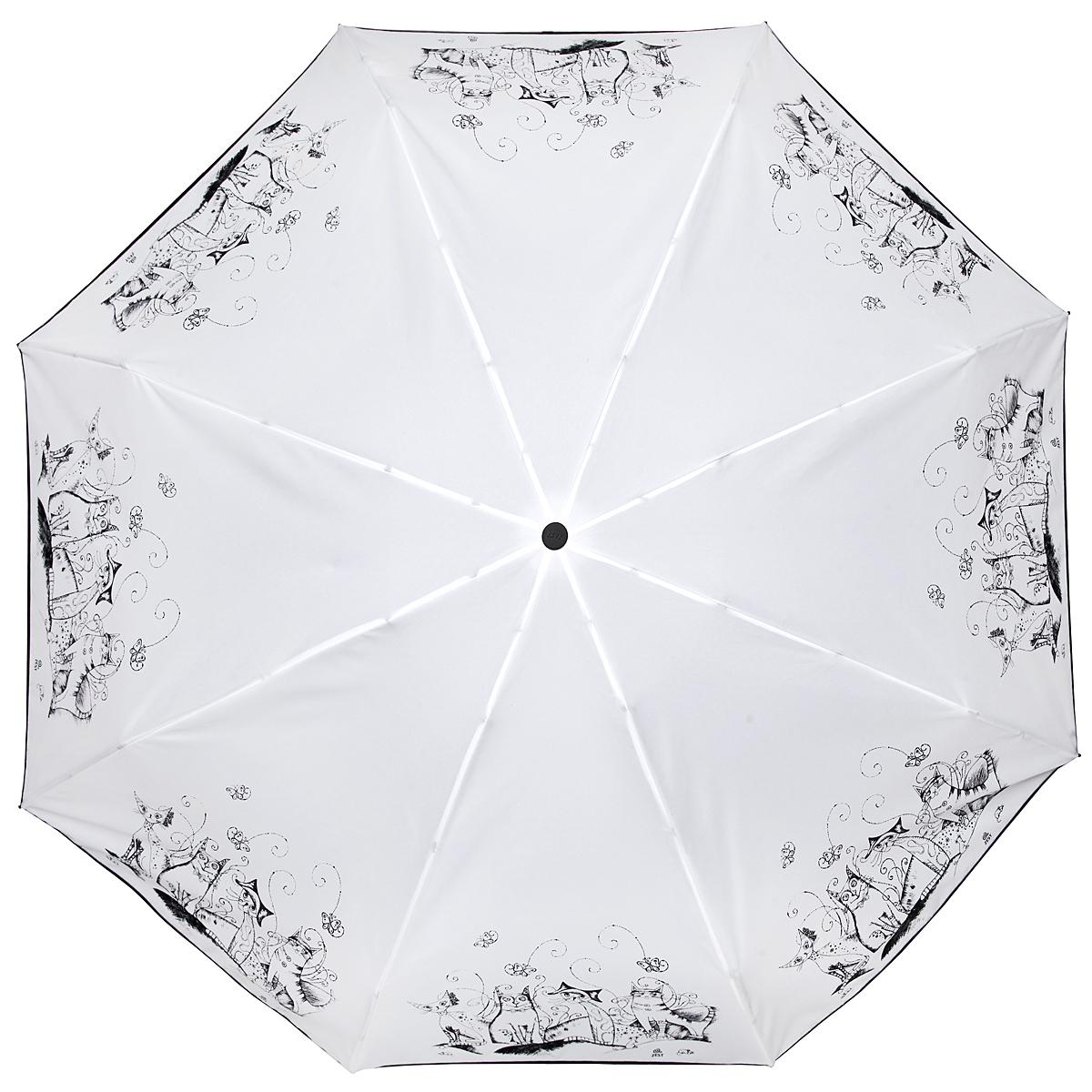 Зонт женский Zest, автомат, 4 сложения, цвет: белый, черный. 24759-005024759-0050Элегантный автоматический зонт Zest в 4 сложения изготовлен из высокопрочных материалов. Каркас зонта состоит из 8 спиц и прочного алюминиевого стержня. Специальная система Windproof защищает его от поломок во время сильных порывов ветра. Купол зонта выполнен из прочного полиэстера с водоотталкивающей пропиткой и оформлен забавным изображением котиков. Используемые высококачественные красители обеспечивают длительное сохранение свойств ткани купола. Рукоятка, разработанная с учетом требований эргономики, выполнена из пластика. Зонт имеет полный автоматический механизм сложения: купол открывается и закрывается нажатием кнопки на рукоятке, стержень складывается вручную до характерного щелчка. Благодаря этому открыть и закрыть зонт можно одной рукой, что чрезвычайно удобно при входе в транспорт или помещение. Небольшой шнурок, расположенный на рукоятке, позволяет надеть изделие на руку при необходимости. Модель закрывается при помощи хлястика на застежку-липучку. К зонту...