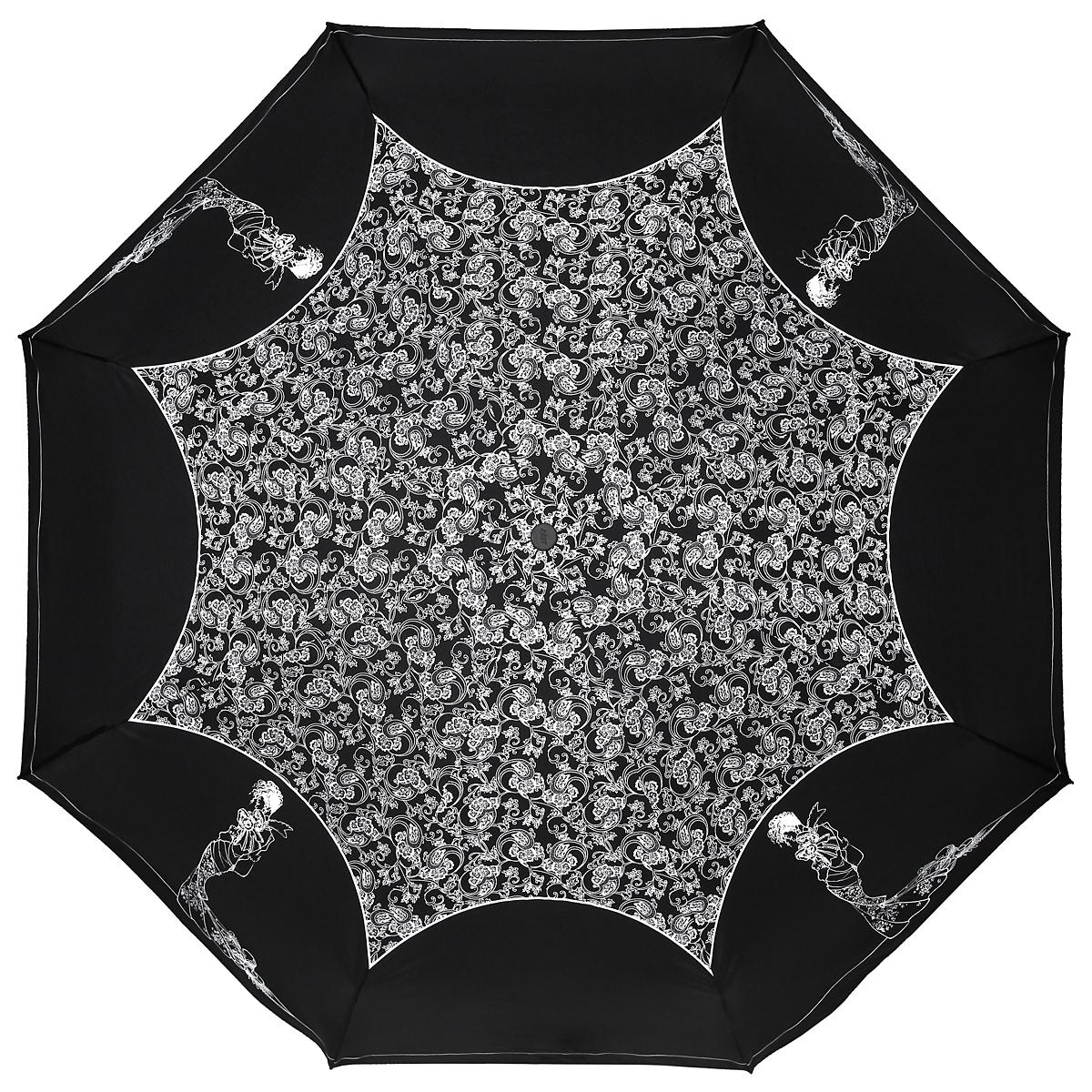 Зонт женский Zest, автомат, 4 сложения, цвет: черный, белый. 24759-900824759-9008Необычный автоматический зонт Zest в 4 сложения изготовлен из высокопрочных материалов. Каркас зонта состоит из 8 спиц и прочного алюминиевого стержня. Специальная система Windproof защищает его от поломок во время сильных порывов ветра. Купол зонта выполнен из прочного полиэстера с водоотталкивающей пропиткой и оформлен изображением силуэта девушки и витиеватым растительным узором. Края купола зонта дополнены тонкой полосой. Используемые высококачественные красители обеспечивают длительное сохранение свойств ткани купола. Рукоятка, разработанная с учетом требований эргономики, выполнена из пластика. Зонт имеет полный автоматический механизм сложения: купол открывается и закрывается нажатием кнопки на рукоятке, стержень складывается вручную до характерного щелчка. Благодаря этому открыть и закрыть зонт можно одной рукой, что чрезвычайно удобно при входе в транспорт или помещение. Небольшой шнурок, расположенный на рукоятке, позволяет надеть изделие на руку при...