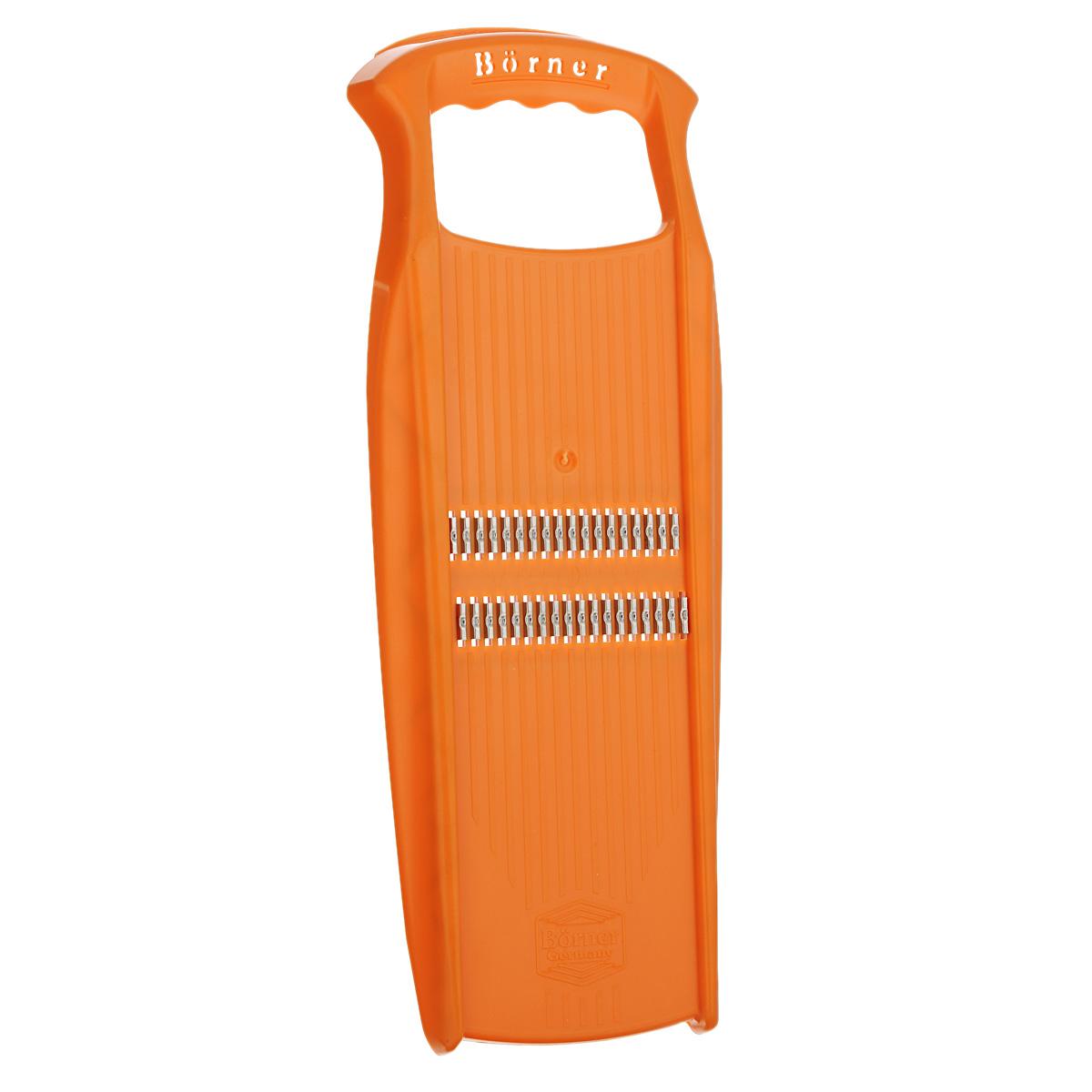 Терка для корейской моркови Borner Pryma, цвет: оранжевый3520608Терка для корейской моркови Borner Pryma - незаменимый инструмент на любой кухне. Корпус выполнен из высокопрочного пластика. Лезвия - из нержавеющей стали, заточенные с двух сторон. С помощью этой терки вы легко нарежете морковь, кабачки, огурцы, лук и другие овощи мелкой соломкой. Терка Borner Pryma будет отличным помощником на вашей кухне, особенно для любителей моркови по-корейски.