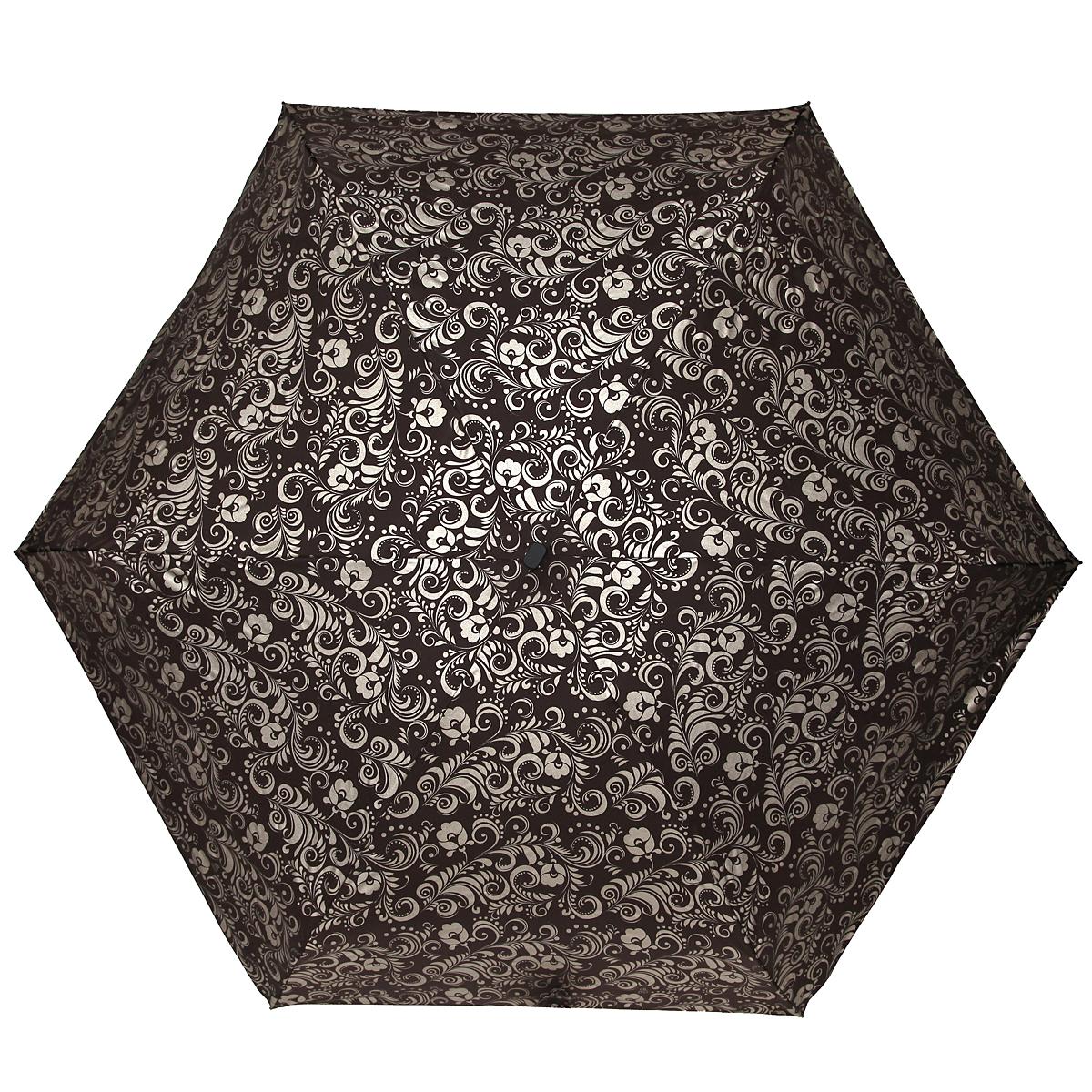 Зонт женский Zest, механический, 5 сложений, цвет: коричневый, золотистый. 25569-126325569-1263Элегантный механический зонт Zest в 5 сложений изготовлен из высокопрочных материалов. Каркас зонта состоит из 6 спиц и прочного алюминиевого стержня. Специальная система Windproof защищает его от поломок во время сильных порывов ветра. Купол зонта выполнен из прочного полиэстера с водоотталкивающей пропиткой и оформлен витиеватым растительным узором. Используемые высококачественные красители обеспечивают длительное сохранение свойств ткани купола. Рукоятка, разработанная с учетом требований эргономики, выполнена из пластика. Зонт механического сложения: купол открывается и закрывается вручную до характерного щелчка. Небольшой шнурок, расположенный на рукоятке, позволяет надеть изделие на руку при необходимости. Модель закрывается при помощи хлястика на застежку-липучку. К зонту прилагается чехол. Очаровательный зонт не только выручит вас в ненастную погоду, но и станет стильным аксессуаром, который прекрасно дополнит ваш модный образ.