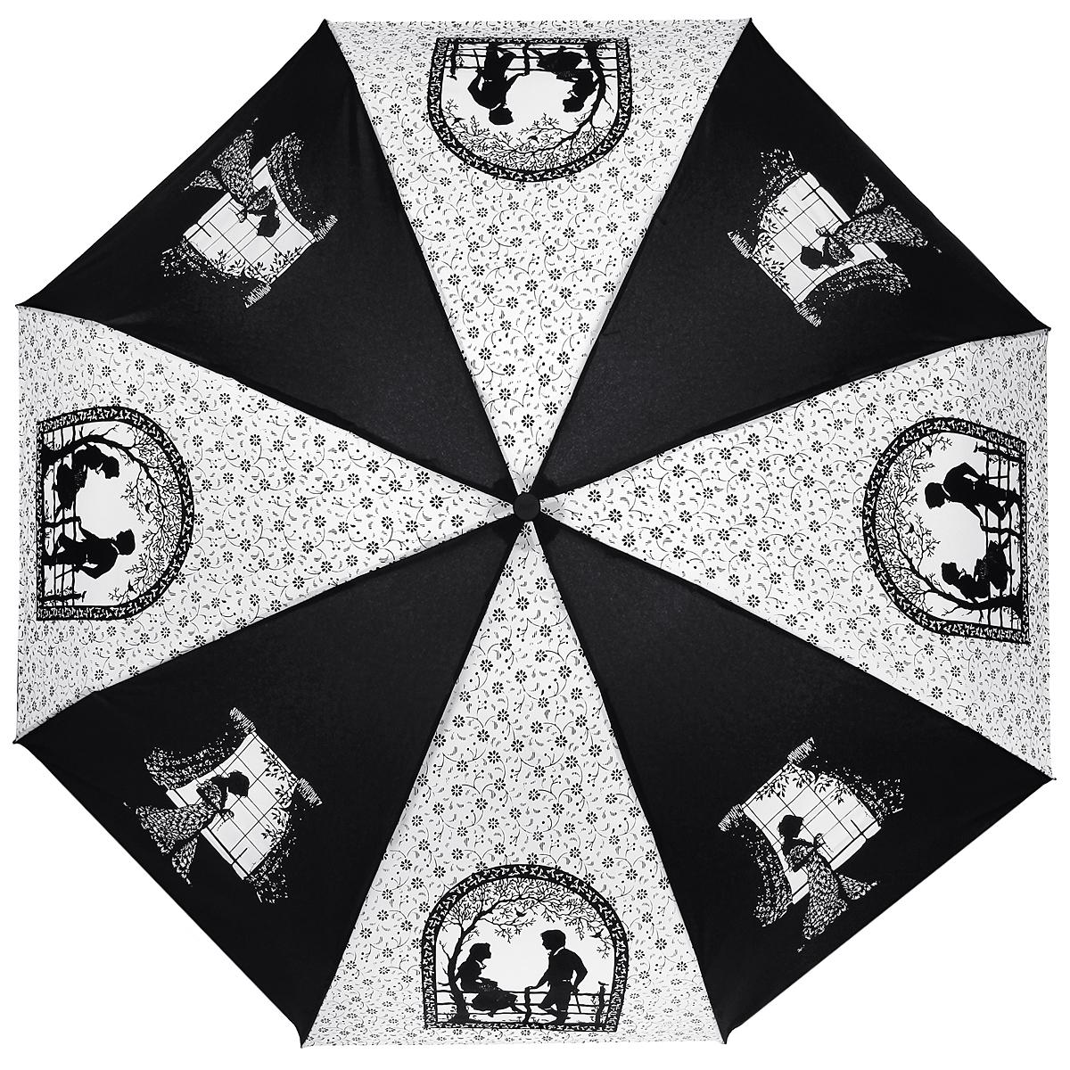 Зонт женский Zest, автомат, 3 сложения, цвет: черный, белый. 23929-40823929-408Элегантный автоматический зонт Zest в 3 сложения изготовлен из высокопрочных материалов. Каркас зонта состоит из 8 спиц и прочного алюминиевого стержня. Специальная система Windproof защищает его от поломок во время сильных порывов ветра. Купол зонта выполнен из прочного полиэстера с водоотталкивающей пропиткой и оформлен узором в мелкий цветочек, а также изображением силуэтов молодых людей на свидании, девушки перед окном. Рукоятка, разработанная с учетом требований эргономики, выполнена из пластика. Зонт имеет полный автоматический механизм сложения: купол открывается и закрывается нажатием кнопки на рукоятке, стержень складывается вручную до характерного щелчка. Благодаря этому открыть и закрыть зонт можно одной рукой, что чрезвычайно удобно при входе в транспорт или помещение. Небольшой шнурок, расположенный на рукоятке, позволяет надеть изделие на руку при необходимости. Модель закрывается при помощи хлястика на застежку-липучку. К зонту прилагается чехол. ...