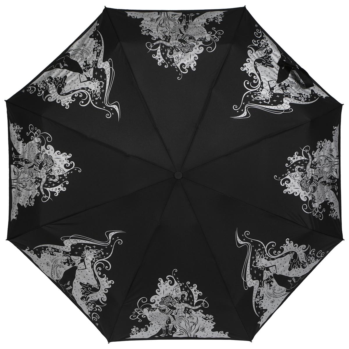 Зонт женский Zest, автомат, 4 сложения, цвет: черный, серебряный. 24759-133824759-1338Оригинальный автоматический зонт Zest в 4 сложения изготовлен из высокопрочных материалов. Каркас зонта состоит из 8 спиц и прочного алюминиевого стержня. Специальная система Windproof защищает его от поломок во время сильных порывов ветра. Купол зонта выполнен из прочного полиэстера с водоотталкивающей пропиткой и оформлен изображением девушек в цирковых костюмах и девушки в маскарадном платье. Используемые высококачественные красители обеспечивают длительное сохранение свойств ткани купола. Рукоятка, разработанная с учетом требований эргономики, выполнена из пластика. Зонт имеет полный автоматический механизм сложения: купол открывается и закрывается нажатием кнопки на рукоятке, стержень складывается вручную до характерного щелчка. Благодаря этому открыть и закрыть зонт можно одной рукой, что чрезвычайно удобно при входе в транспорт или помещение. Небольшой шнурок, расположенный на рукоятке, позволяет надеть изделие на руку при необходимости. Модель закрывается при...