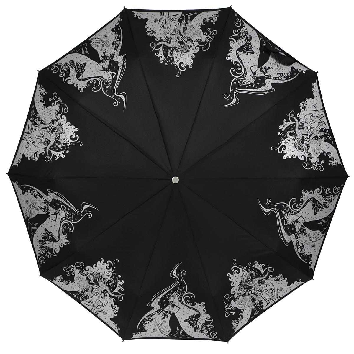 Зонт женский Zest, автомат, 3 сложения, цвет: черный, серебряный. 23969-133823969-1338Оригинальный автоматический зонт Zest в 3 сложения изготовлен из высокопрочных материалов. Каркас зонта состоит из 10 спиц и прочного алюминиевого стержня. Специальная система Windproof защищает его от поломок во время сильных порывов ветра. Купол зонта выполнен из прочного полиэстера с водоотталкивающей пропиткой и оформлен изображением девушек в цирковых костюмах и девушки в маскарадном платье. Рукоятка, разработанная с учетом требований эргономики, выполнена из металла и искусственной кожи. Зонт имеет полный автоматический механизм сложения: купол открывается и закрывается нажатием кнопки на рукоятке, стержень складывается вручную до характерного щелчка. Благодаря этому открыть и закрыть зонт можно одной рукой, что чрезвычайно удобно при входе в транспорт или помещение. Небольшой шнурок, расположенный на рукоятке, позволяет надеть изделие на руку при необходимости. Модель закрывается при помощи хлястика на застежку-липучку. К зонту прилагается чехол, который оснащен...