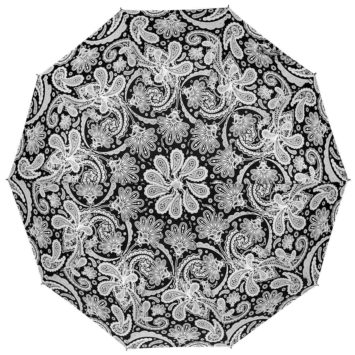 Зонт женский Zest, автомат, 3 сложения, цвет: черный, белый. 23969-119123969-1191Прелестный автоматический зонт Zest в 3 сложения изготовлен из высокопрочных материалов. Каркас зонта состоит из 10 спиц и прочного алюминиевого стержня. Специальная система Windproof защищает его от поломок во время сильных порывов ветра. Купол зонта выполнен из прочного полиэстера с водоотталкивающей пропиткой и оформлен стильным орнаментом. Рукоятка, разработанная с учетом требований эргономики, выполнена из металла и искусственной кожи. Зонт имеет полный автоматический механизм сложения: купол открывается и закрывается нажатием кнопки на рукоятке, стержень складывается вручную до характерного щелчка. Благодаря этому открыть и закрыть зонт можно одной рукой, что чрезвычайно удобно при входе в транспорт или помещение. Небольшой шнурок, расположенный на рукоятке, позволяет надеть изделие на руку при необходимости. Модель закрывается при помощи хлястика на застежку-липучку. К зонту прилагается чехол, который оснащен двумя удобными ручками. Очаровательный зонт не...