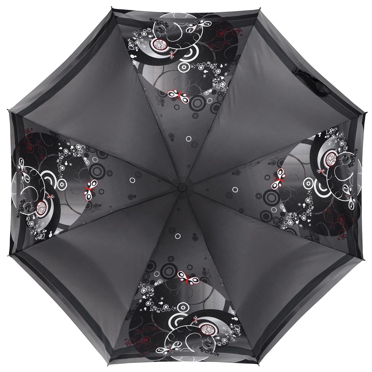 Зонт женский Zest, автомат, 3 сложения, цвет: серый. 23926-003223926-0032Необычный автоматический зонт Zest в 3 сложения изготовлен из высокопрочных материалов. Каркас зонта состоит из 8 спиц и прочного алюминиевого стержня. Специальная система Windproof защищает его от поломок во время сильных порывов ветра. Купол зонта выполнен из прочного полиэстера с водоотталкивающей пропиткой и оформлен оригинальным абстрактным принтом, полосками по краям. Используемые высококачественные красители обеспечивают длительное сохранение свойств ткани купола. Рукоятка, разработанная с учетом требований эргономики, выполнена из пластика. Зонт имеет полный автоматический механизм сложения: купол открывается и закрывается нажатием кнопки на рукоятке, стержень складывается вручную до характерного щелчка. Благодаря этому открыть и закрыть зонт можно одной рукой, что чрезвычайно удобно при входе в транспорт или помещение. Небольшой шнурок, расположенный на рукоятке, позволяет надеть изделие на руку при необходимости. Модель закрывается при помощи хлястика на...
