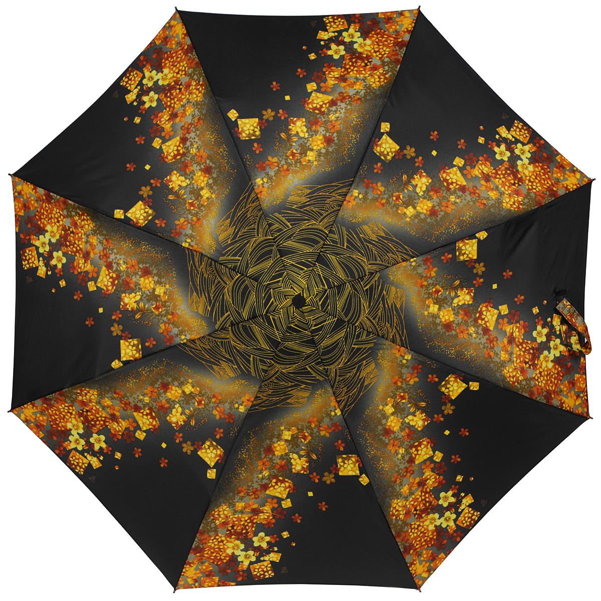 Зонт женский Zest, автомат, 3 сложения, цвет: черный, желто-оранжевый. 23926-905323926-9053Элегантный автоматический зонт Zest в 3 сложения изготовлен из высокопрочных материалов. Каркас зонта состоит из 8 спиц и прочного алюминиевого стержня. Специальная система Windproof защищает его от поломок во время сильных порывов ветра. Купол зонта выполнен из прочного полиэстера с водоотталкивающей пропиткой и оформлен оригинальным цветочным принтом. Используемые высококачественные красители обеспечивают длительное сохранение свойств ткани купола. Рукоятка, разработанная с учетом требований эргономики, выполнена из пластика. Зонт имеет полный автоматический механизм сложения: купол открывается и закрывается нажатием кнопки на рукоятке, стержень складывается вручную до характерного щелчка. Благодаря этому открыть и закрыть зонт можно одной рукой, что чрезвычайно удобно при входе в транспорт или помещение. Небольшой шнурок, расположенный на рукоятке, позволяет надеть изделие на руку при необходимости. Модель закрывается при помощи хлястика на застежку-липучку. К зонту...