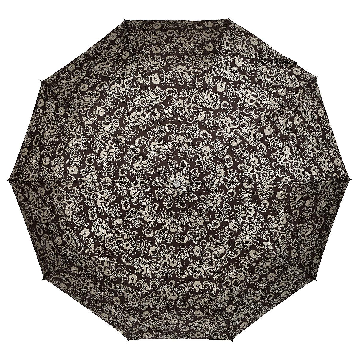 Зонт женский Zest, автомат, 3 сложения, цвет: коричневый, золотистый. 23969-126323969-1263Элегантный автоматический зонт Zest в 3 сложения изготовлен из высокопрочных материалов. Каркас зонта состоит из 10 спиц и прочного алюминиевого стержня. Специальная система Windproof защищает его от поломок во время сильных порывов ветра. Купол зонта выполнен из прочного полиэстера с водоотталкивающей пропиткой и оформлен витиеватым растительным узором. Рукоятка, разработанная с учетом требований эргономики, выполнена из металла и искусственной кожи. Зонт имеет полный автоматический механизм сложения: купол открывается и закрывается нажатием кнопки на рукоятке, стержень складывается вручную до характерного щелчка. Благодаря этому открыть и закрыть зонт можно одной рукой, что чрезвычайно удобно при входе в транспорт или помещение. Небольшой шнурок, расположенный на рукоятке, позволяет надеть изделие на руку при необходимости. Модель закрывается при помощи хлястика на застежку-липучку. К зонту прилагается чехол, который оснащен двумя удобными ручками. Очаровательный...