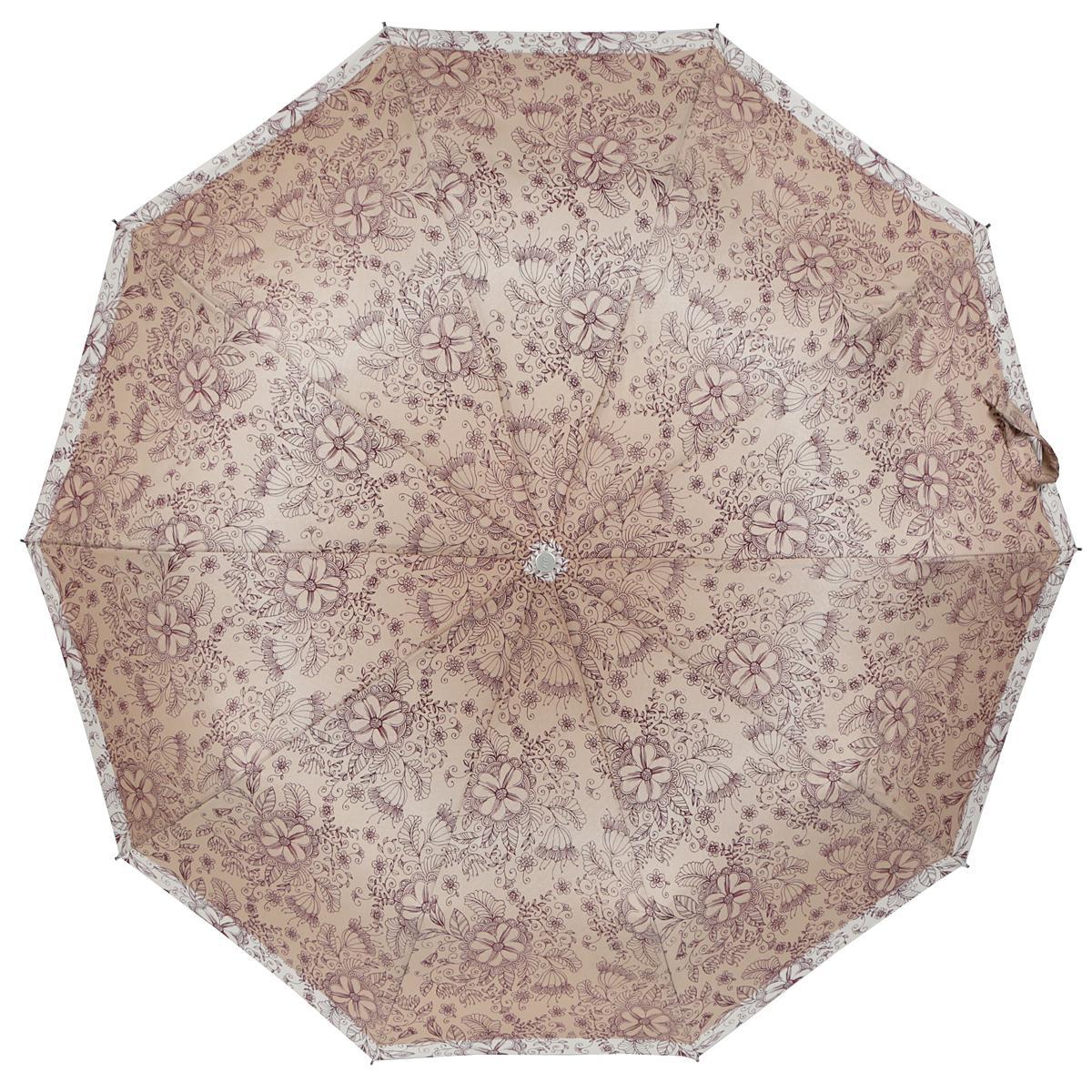 Зонт женский Zest, автомат, 3 сложения, цвет: темно-бежевый, бордовый, бежевый. 23969-109723969-1097Элегантный автоматический зонт Zest в 3 сложения изготовлен из высокопрочных материалов. Каркас зонта состоит из 10 спиц и прочного алюминиевого стержня. Специальная система Windproof защищает его от поломок во время сильных порывов ветра. Купол зонта выполнен из прочного полиэстера с водоотталкивающей пропиткой и оформлен стильным цветочным орнаментом. Рукоятка, разработанная с учетом требований эргономики, выполнена из металла и искусственной кожи. Зонт имеет полный автоматический механизм сложения: купол открывается и закрывается нажатием кнопки на рукоятке, стержень складывается вручную до характерного щелчка. Благодаря этому открыть и закрыть зонт можно одной рукой, что чрезвычайно удобно при входе в транспорт или помещение. Небольшой шнурок, расположенный на рукоятке, позволяет надеть изделие на руку при необходимости. Модель закрывается при помощи хлястика на застежку-липучку. К зонту прилагается чехол, который оснащен двумя удобными ручками. Очаровательный...