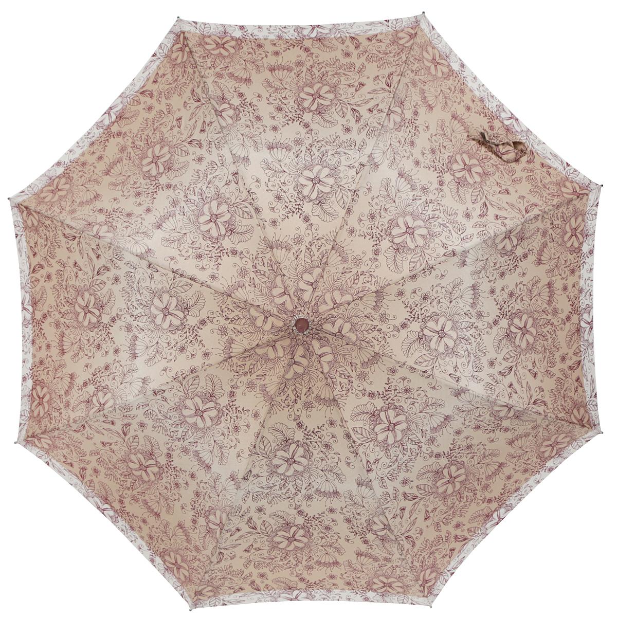 Зонт-трость женский Zest, полуавтомат, цвет: темно-бежевый, бордовый, бежевый. 21629-109721629-1097Элегантный полуавтоматический зонт-трость Zest займет достойное место среди вашей коллекции аксессуаров. Каркас зонта из фибергласса состоит из 8 спиц и прочного стержня. Специальная система Windproof защищает его от поломок во время сильных порывов ветра. Купол зонта изготовлен из прочного полиэстера с водоотталкивающей пропиткой и оформлен стильным цветочным орнаментом. Рукоятка закругленной формы, разработанная с учетом требований эргономики, выполнена из металла и пластика. Зонт имеет полуавтоматический механизм сложения: купол открывается нажатием на кнопку и закрывается вручную до характерного щелчка. Модель закрывается при помощи хлястика на застежку-липучку. Очаровательный зонт не только выручит вас в ненастную погоду, но и станет стильным аксессуаром, который прекрасно дополнит ваш модный образ.