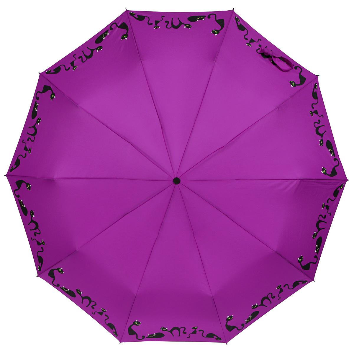 Зонт женский Zest, автомат, 3 сложения, цвет: фиолетовый. 23969-102323969-1023Элегантный автоматический зонт Zest в 3 сложения изготовлен из высокопрочных материалов. Каркас зонта состоит из 10 спиц и прочного алюминиевого стержня. Специальная система Windproof защищает его от поломок во время сильных порывов ветра. Купол зонта выполнен из прочного полиэстера с водоотталкивающей пропиткой и оформлен изображением прелестных кошечек. Рукоятка, разработанная с учетом требований эргономики, выполнена из металла и искусственной кожи. Зонт имеет полный автоматический механизм сложения: купол открывается и закрывается нажатием кнопки на рукоятке, стержень складывается вручную до характерного щелчка. Благодаря этому открыть и закрыть зонт можно одной рукой, что чрезвычайно удобно при входе в транспорт или помещение. Небольшой шнурок, расположенный на рукоятке, позволяет надеть изделие на руку при необходимости. Модель закрывается при помощи хлястика на застежку-липучку. К зонту прилагается чехол, который оснащен двумя удобными ручками. Очаровательный...
