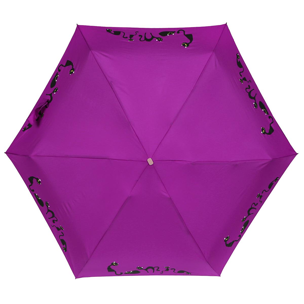 Зонт женский Zest, механический, 5 сложений, цвет: фиолетовый. 25569-102325569-1023Элегантный механический зонт Zest в 5 сложений изготовлен из высокопрочных материалов. Каркас зонта состоит из 6 спиц и прочного алюминиевого стержня. Специальная система Windproof защищает его от поломок во время сильных порывов ветра. Купол зонта выполнен из прочного полиэстера с водоотталкивающей пропиткой и оформлен изображением прелестных кошечек. Используемые высококачественные красители обеспечивают длительное сохранение свойств ткани купола. Рукоятка, разработанная с учетом требований эргономики, выполнена из пластика. Зонт механического сложения: купол открывается и закрывается вручную до характерного щелчка. Небольшой шнурок, расположенный на рукоятке, позволяет надеть изделие на руку при необходимости. Модель закрывается при помощи хлястика на застежку-липучку. К зонту прилагается чехол. Очаровательный зонт не только выручит вас в ненастную погоду, но и станет стильным аксессуаром, который прекрасно дополнит ваш модный образ.