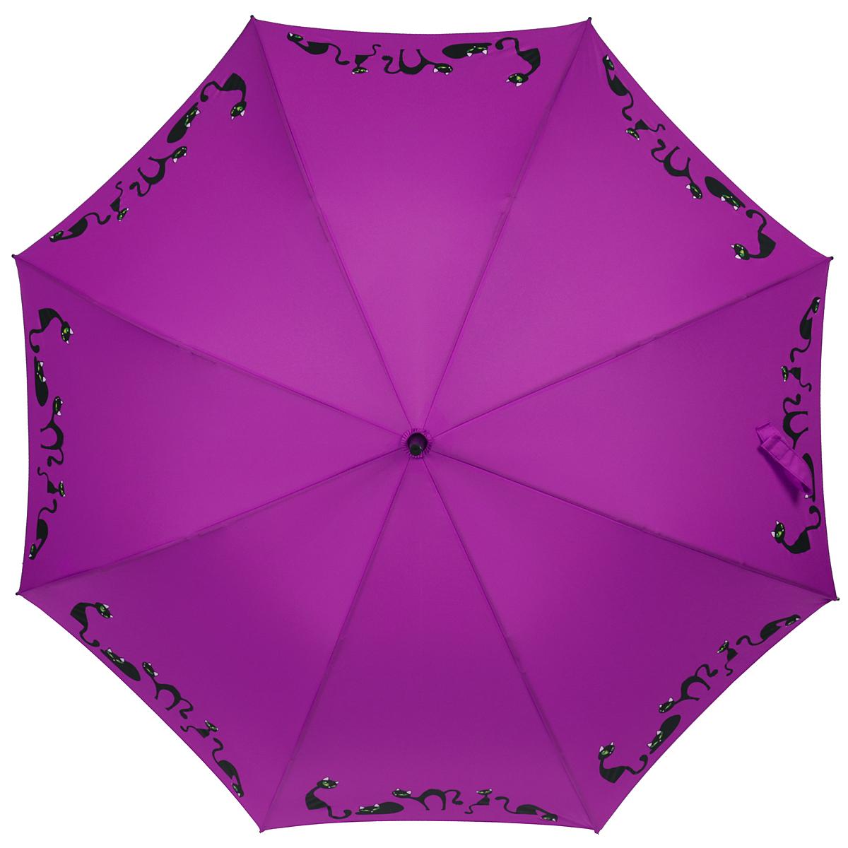 Зонт-трость женский Zest, полуавтомат, цвет: фиолетовый. 21629-102321629-1023Элегантный полуавтоматический зонт-трость Zest займет достойное место среди вашей коллекции аксессуаров. Каркас зонта из фибергласса состоит из 8 спиц и прочного стержня. Специальная система Windproof защищает его от поломок во время сильных порывов ветра. Купол зонта изготовлен из прочного полиэстера с водоотталкивающей пропиткой и оформлен изображением прелестных кошечек. Рукоятка закругленной формы, разработанная с учетом требований эргономики, выполнена из металла и пластика. Зонт имеет полуавтоматический механизм сложения: купол открывается нажатием на кнопку и закрывается вручную до характерного щелчка. Модель закрывается при помощи хлястика на застежку-липучку. Очаровательный зонт не только выручит вас в ненастную погоду, но и станет стильным аксессуаром, который прекрасно дополнит ваш модный образ.