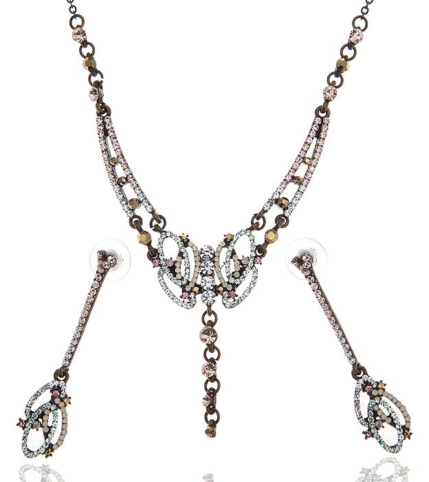 Комплект 'Мелинда': серьги-пусеты и ожерелье. Разноцветные кристаллы и стразы, бижутерный сплав 'старое золото'. Temptation Style, Италия, 2000-е гг.
