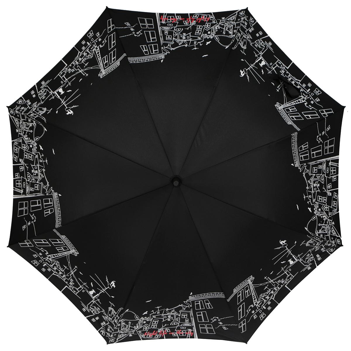 Зонт-трость женский Zest, полуавтомат, цвет: черный, белый. 21629-804721629-8047Очаровательный полуавтоматический зонт-трость Zest займет достойное место среди вашей коллекции аксессуаров. Каркас зонта из фибергласса состоит из 8 спиц и прочного стержня. Специальная система Windproof защищает его от поломок во время сильных порывов ветра. Купол зонта изготовлен из прочного полиэстера с водоотталкивающей пропиткой и оформлен изображением ночного города. Рукоятка закругленной формы, разработанная с учетом требований эргономики, выполнена из металла и пластика. Зонт имеет полуавтоматический механизм сложения: купол открывается нажатием на кнопку и закрывается вручную до характерного щелчка. Модель закрывается при помощи хлястика на застежку-липучку. Прелестный зонт не только выручит вас в ненастную погоду, но и станет стильным аксессуаром, который прекрасно дополнит ваш модный образ.