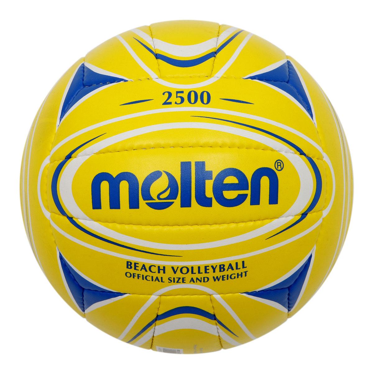 Мяч для пляжного волейбола Molten, цвет: желтый, синий. Размер 5V5B2500-YBМяч для пляжного волейбола Molten изготовлен из мягкой синтетической кожи, обеспечивающей мягкий контакт с рукой. Отличные игровые характеристики. Ручное шитье. Имеет официальный вес и размер.